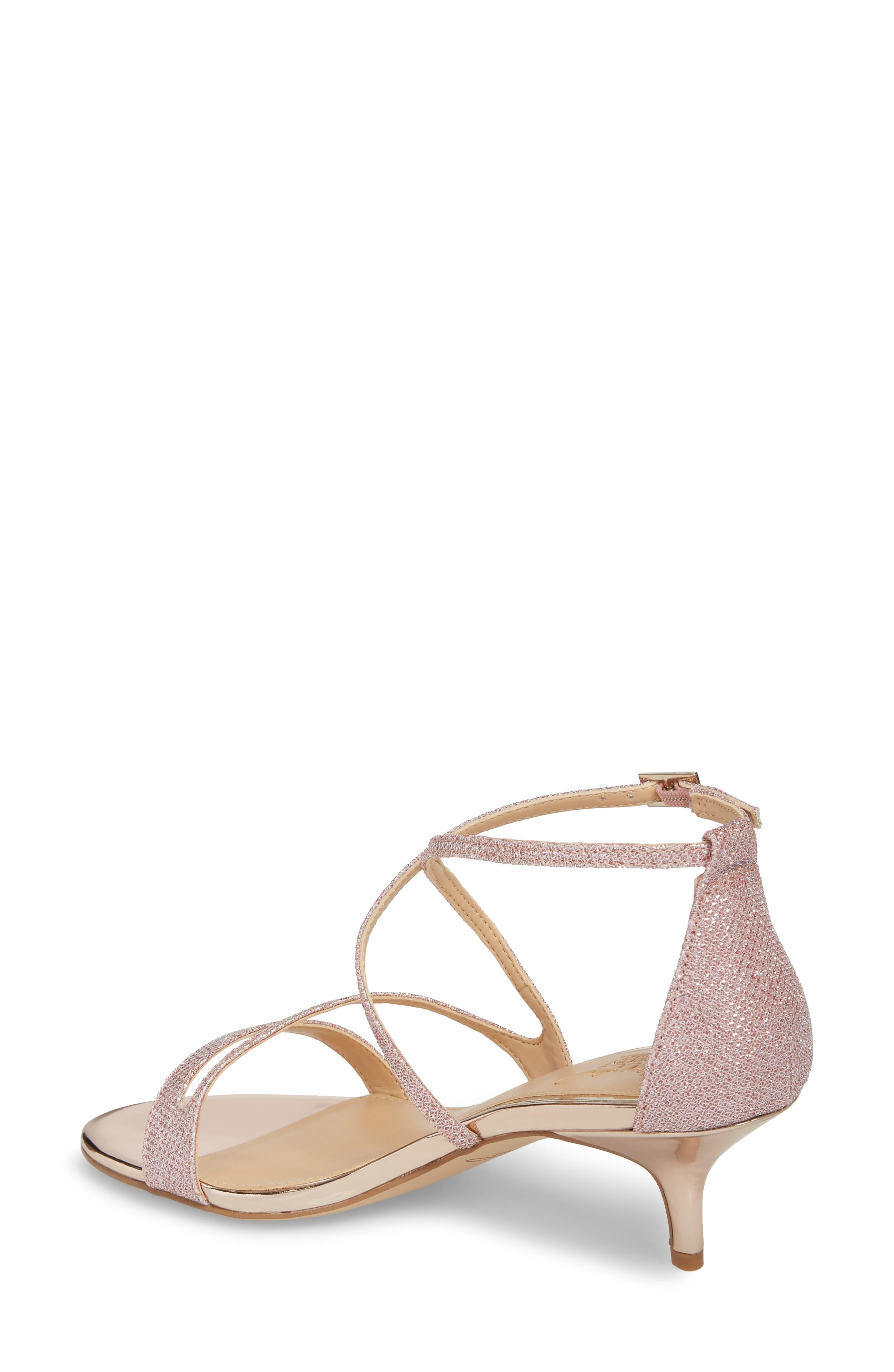 Gal Glitter Kitten Heel Sandal,                             Alternate thumbnail 2, color,                             Rose Gold Glitter Fabric