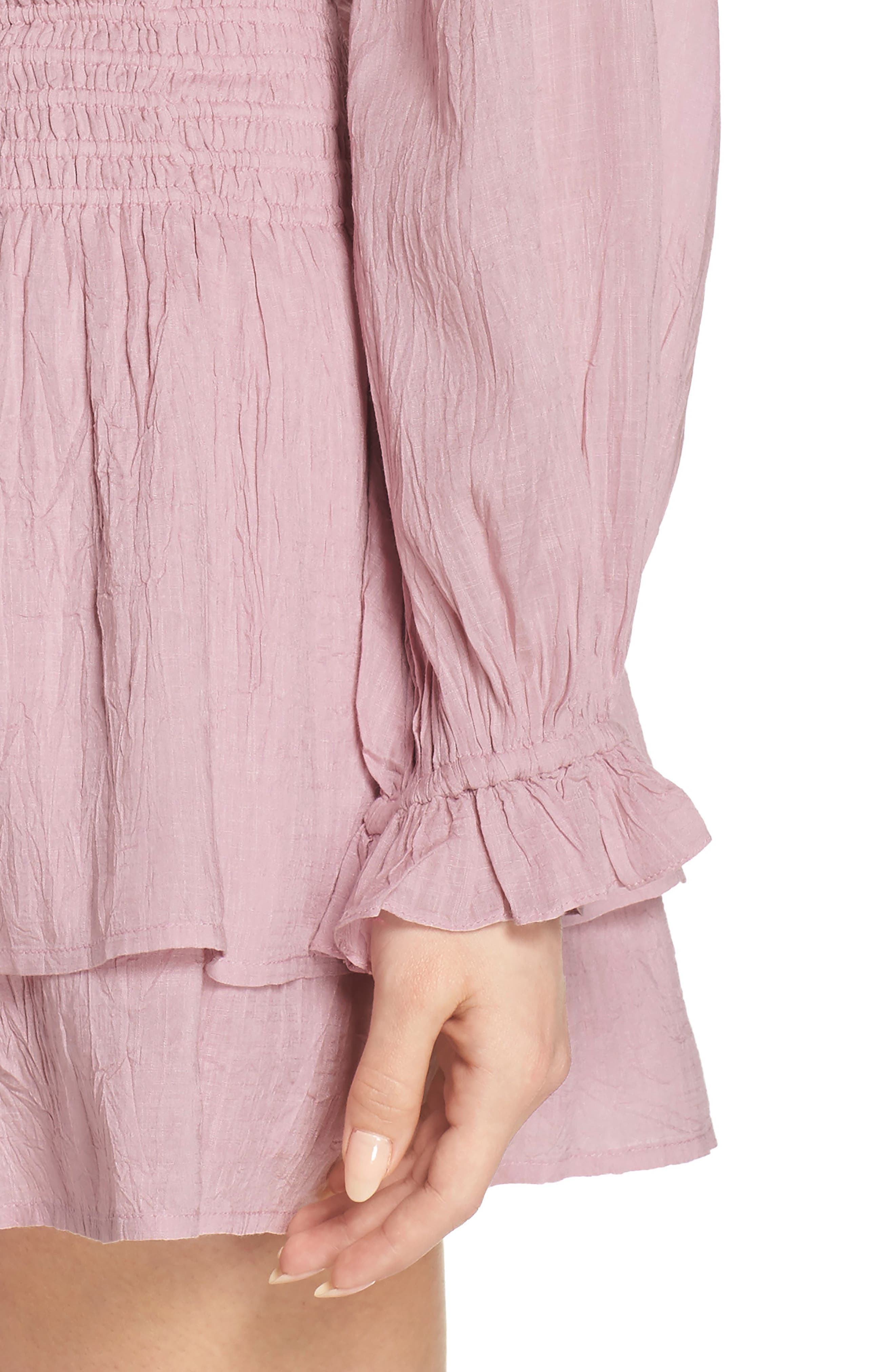 Lemay Peasant Dress,                             Alternate thumbnail 4, color,                             Pale Mauve