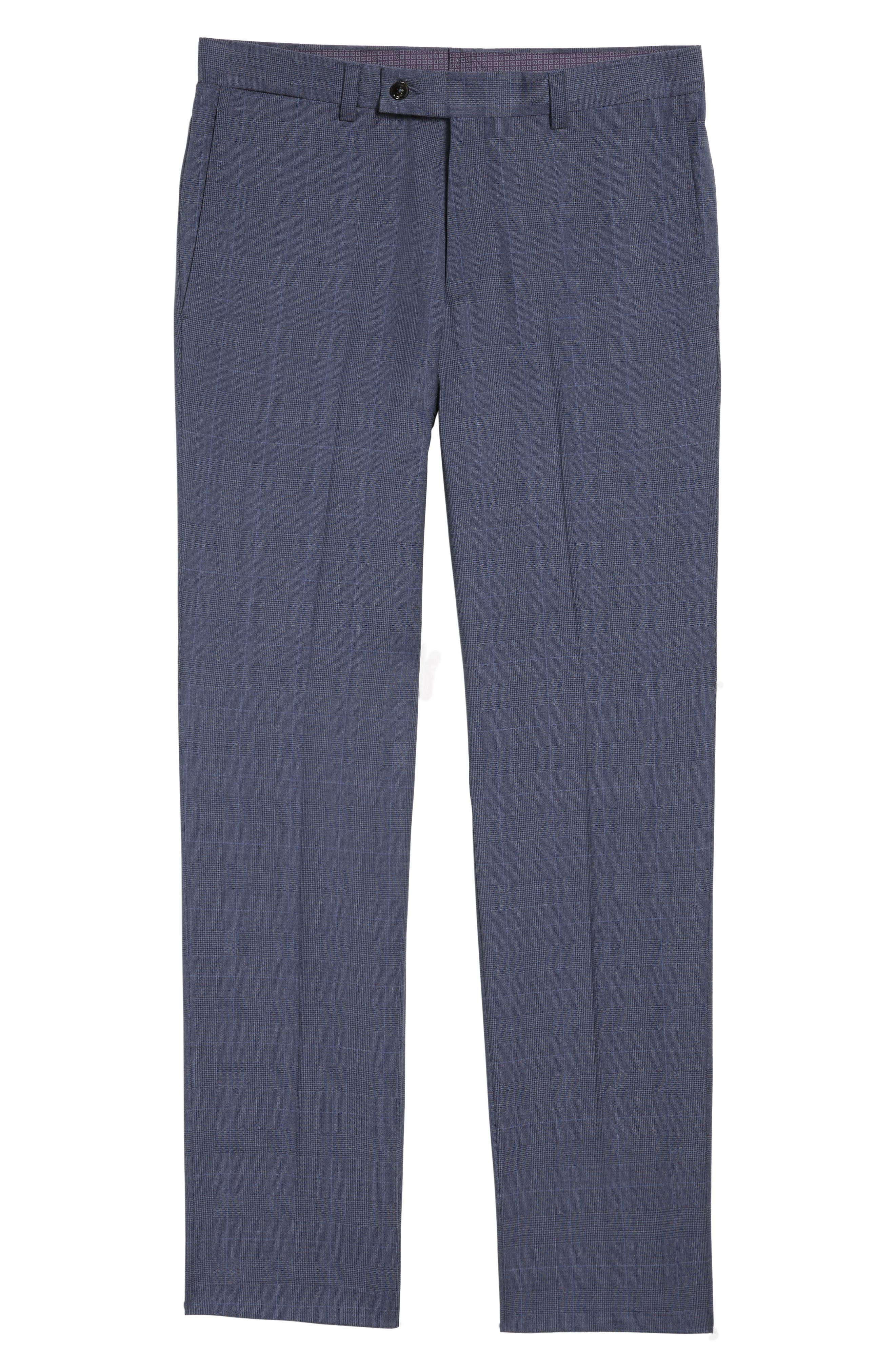 Jefferson Flat Front Wool Trousers,                             Alternate thumbnail 6, color,                             Blue