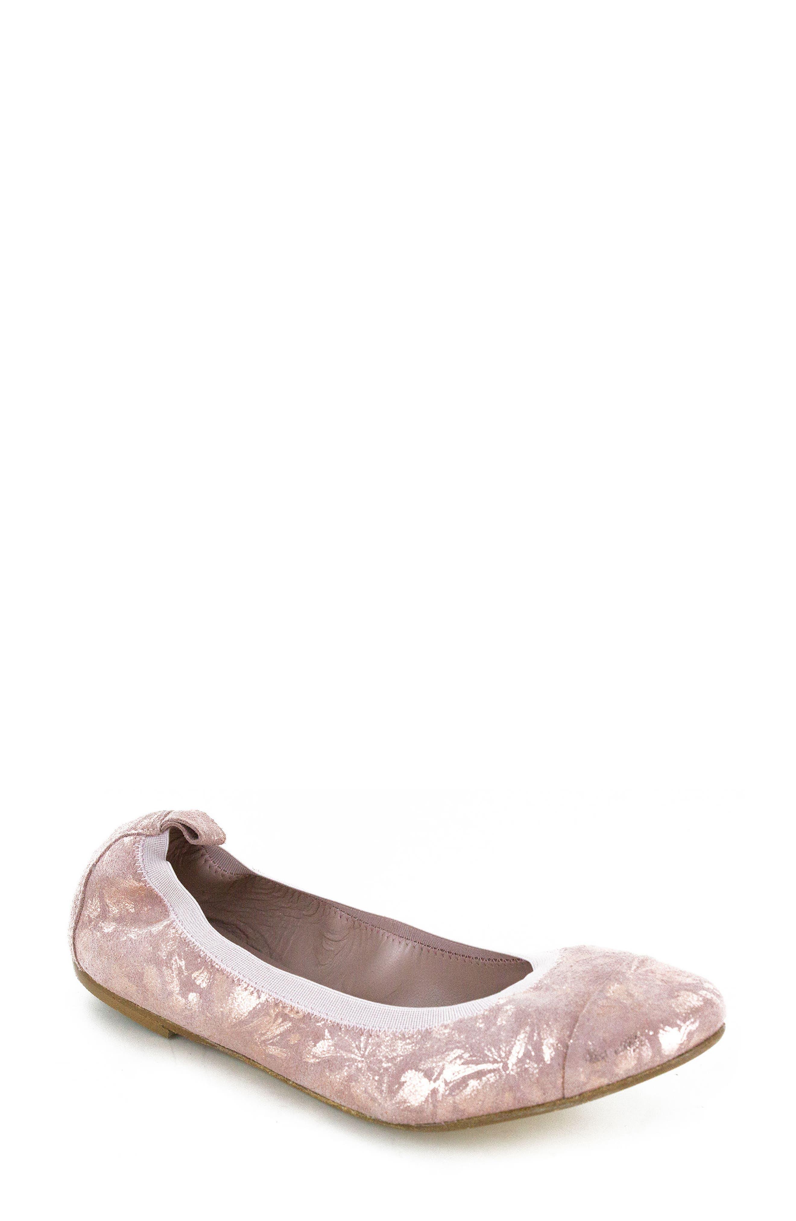 Kara Ballet Flat,                             Main thumbnail 1, color,                             Rose Quartz Floral Leather