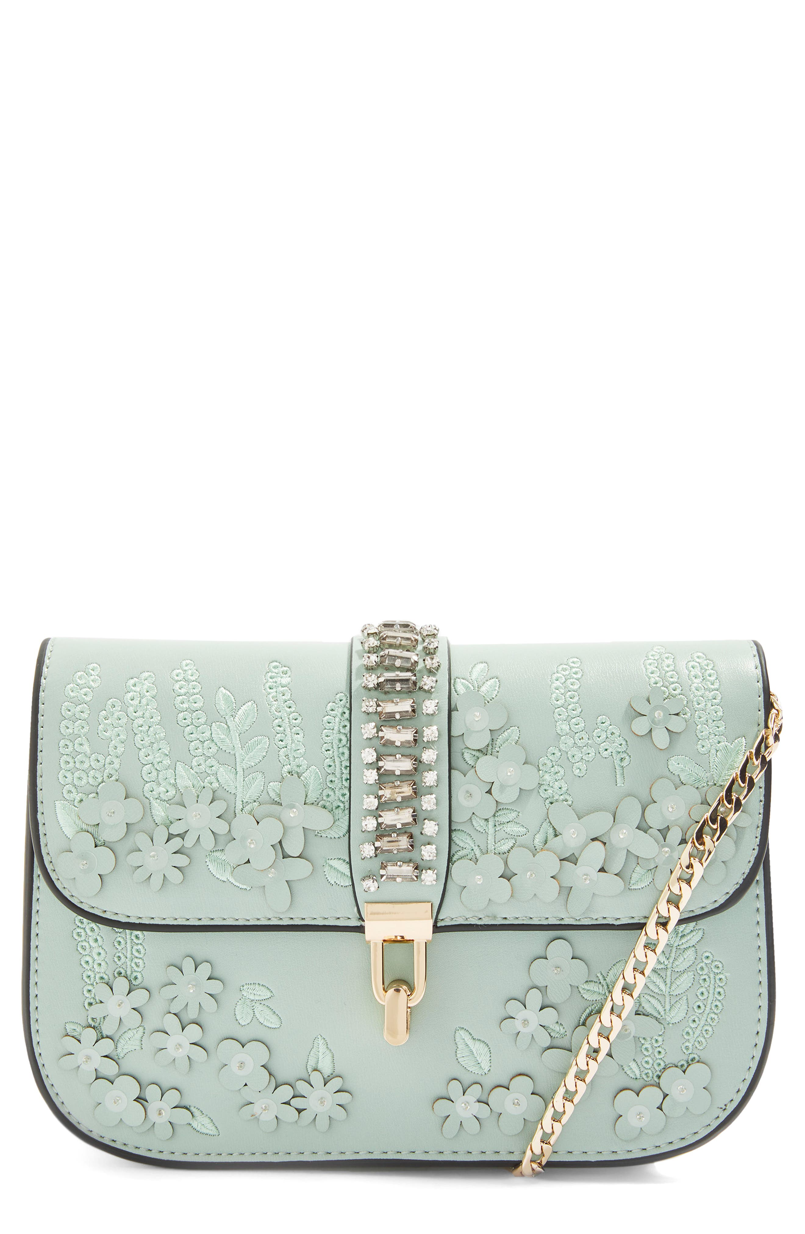 Petal 3D Flower Embroidered Crossbody Bag,                         Main,                         color, Mint