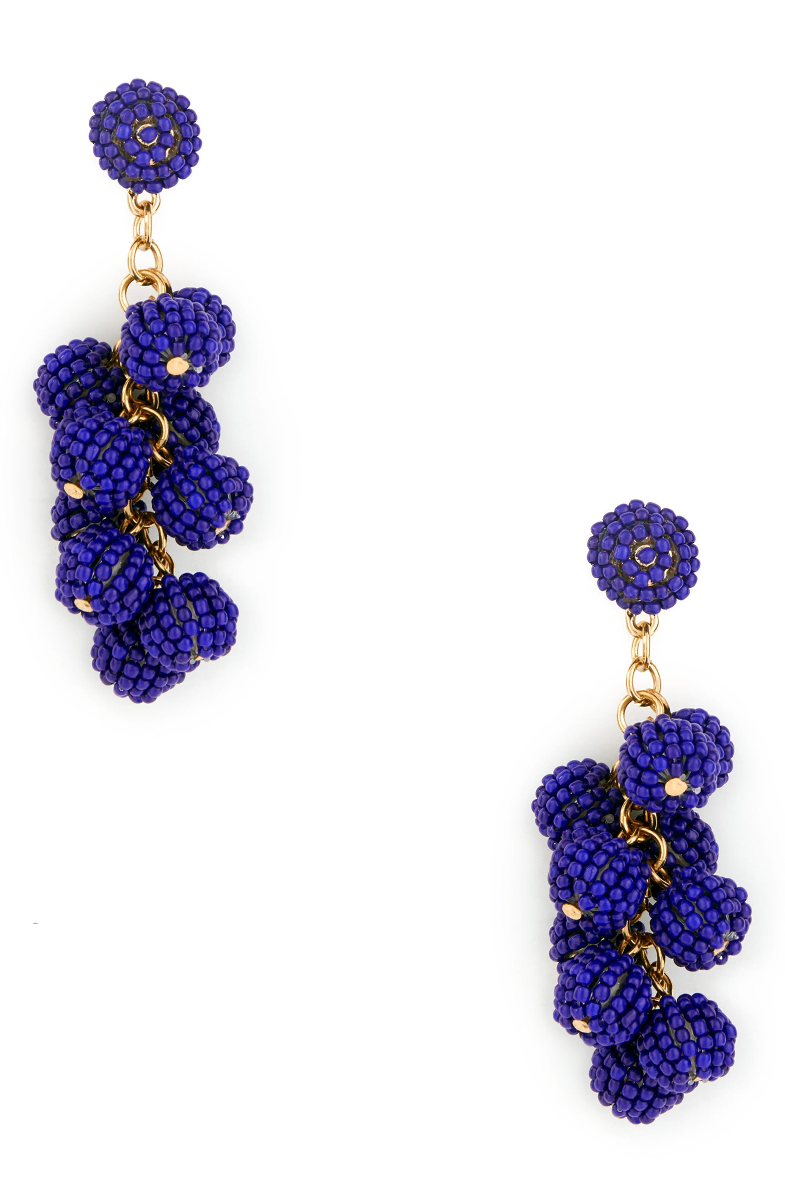 Beaded Cluster Earrings,                         Main,                         color, Blue