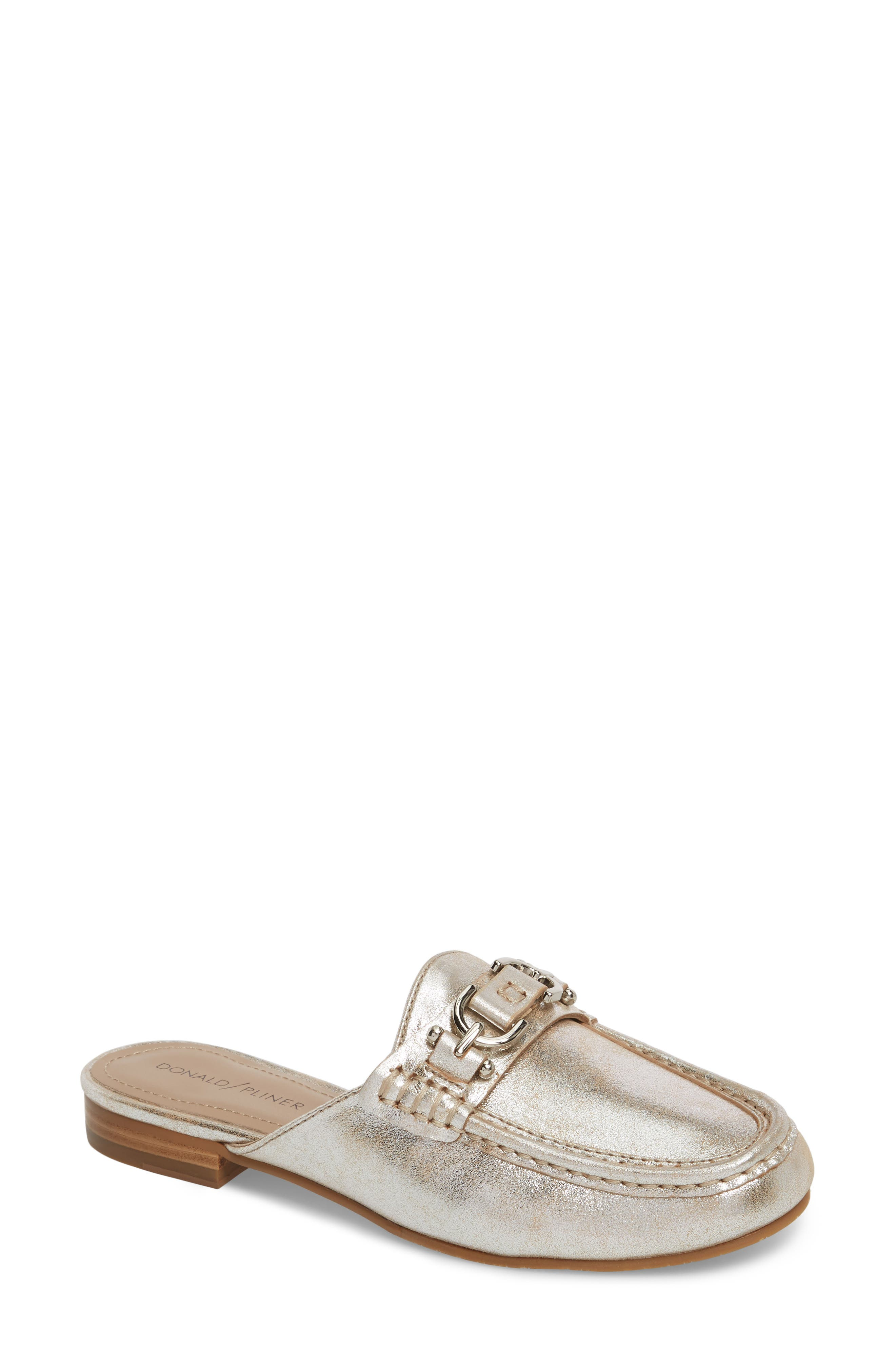 Sylvi Loafer Mule,                             Main thumbnail 1, color,                             Silver Leather