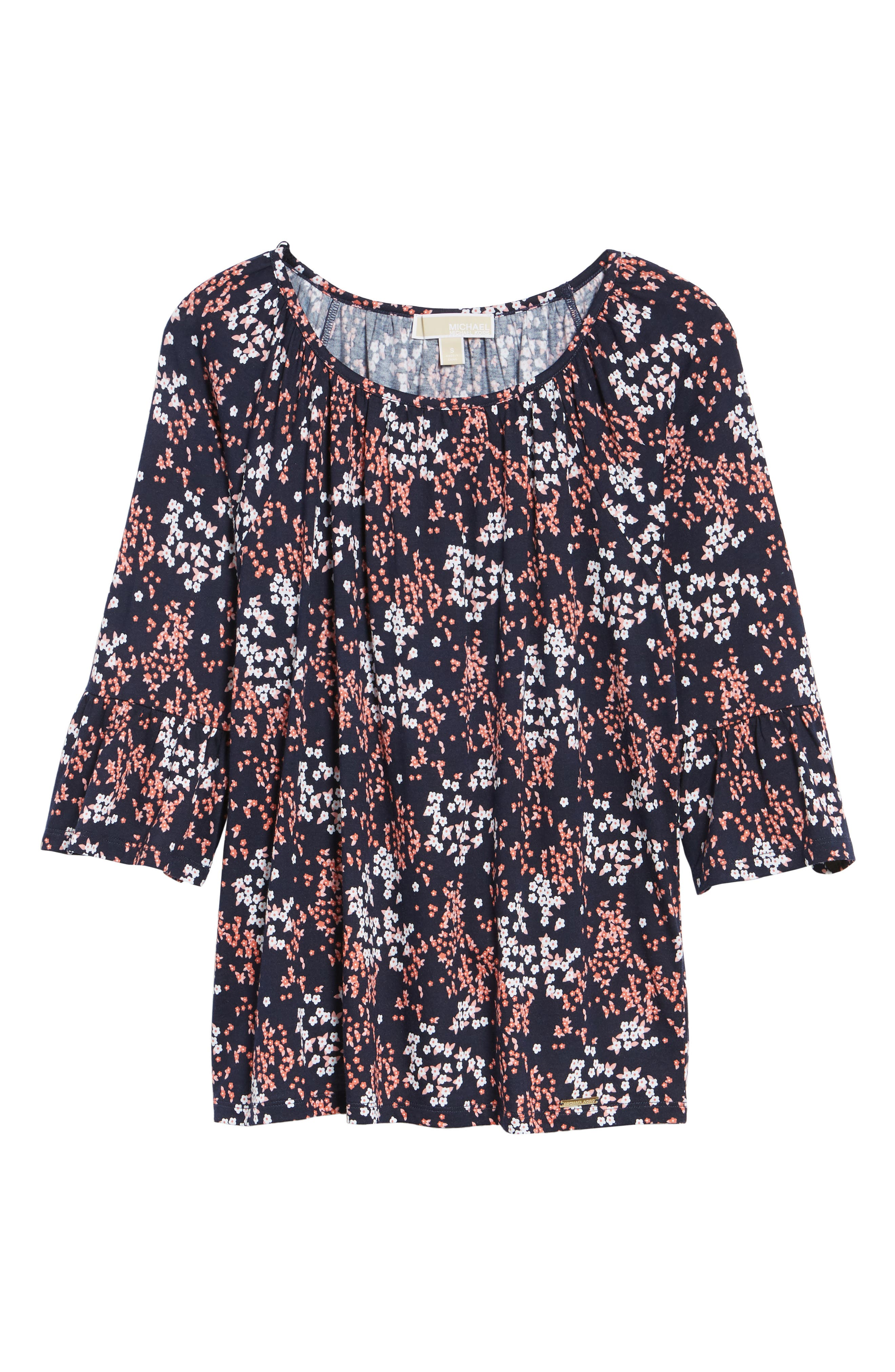 Scattered Blooms Print Peasant Top,                             Alternate thumbnail 7, color,                             True Navy/ Bright Blush