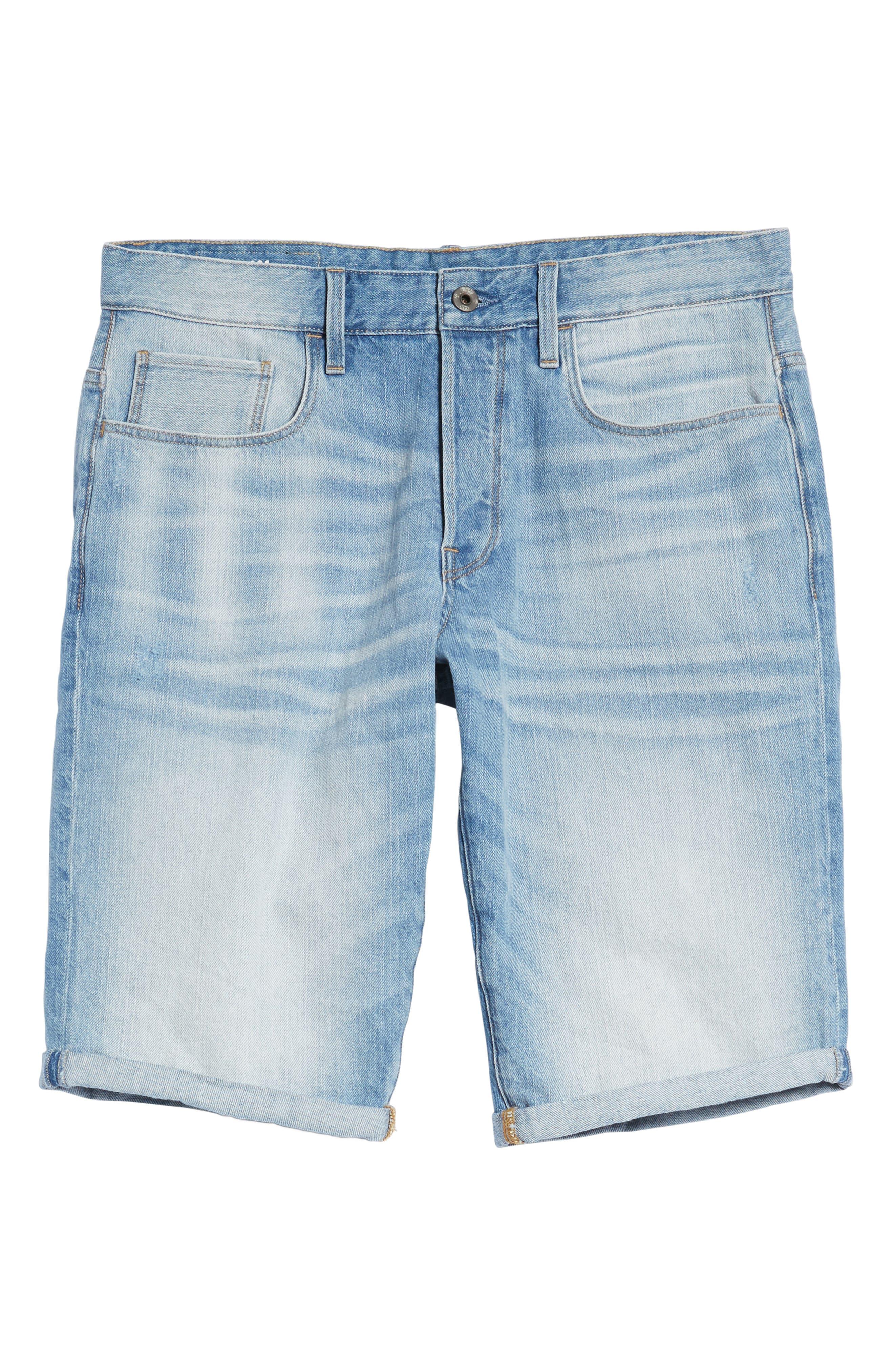 Slim Fit Denim Shorts,                             Alternate thumbnail 5, color,                             Light Aged
