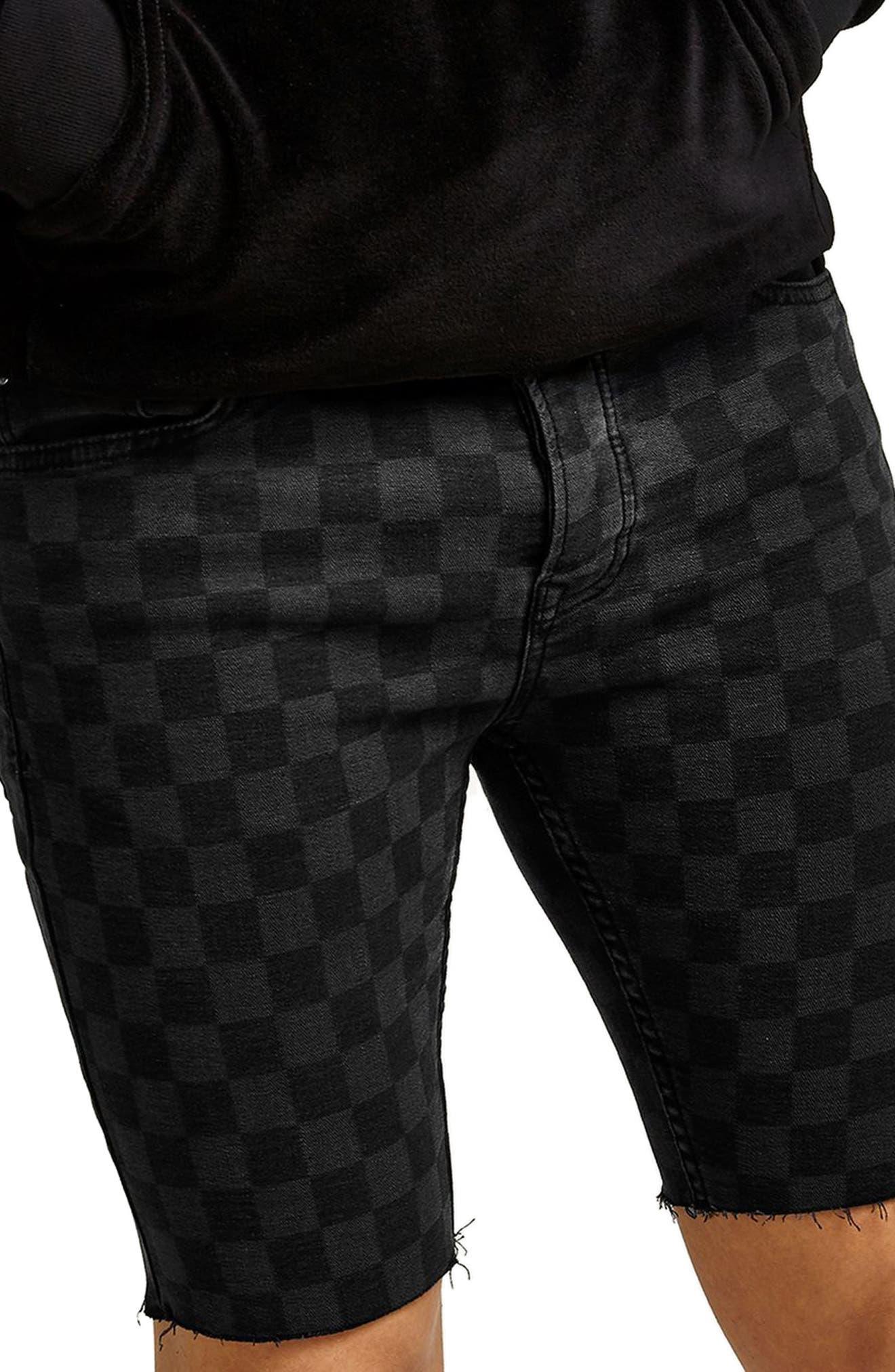 Stretch Skinny Fit Check Denim Shorts,                             Main thumbnail 1, color,                             Black