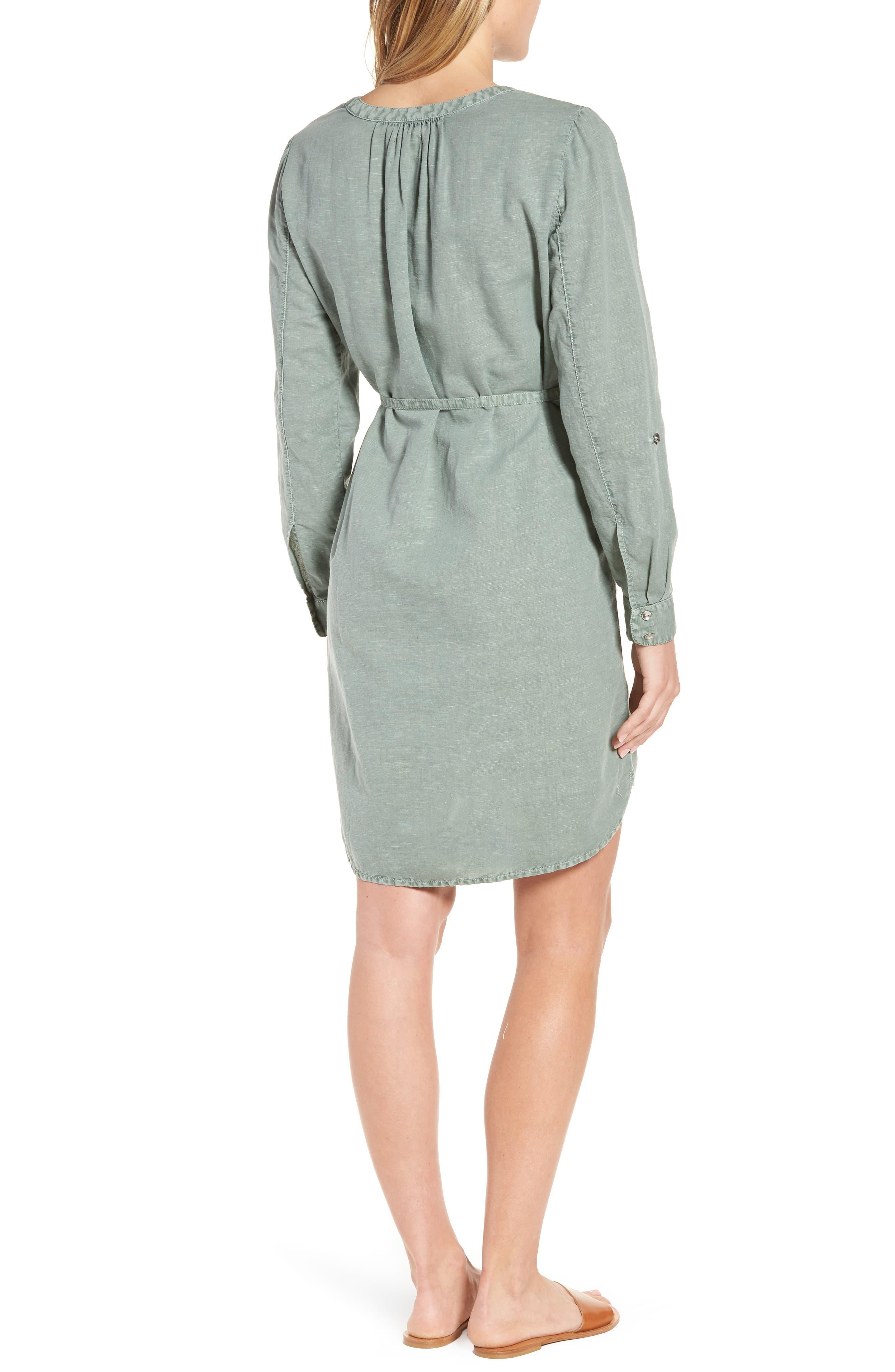 Linen Cotton Shirtdress,                             Alternate thumbnail 2, color,                             Green Lilypad