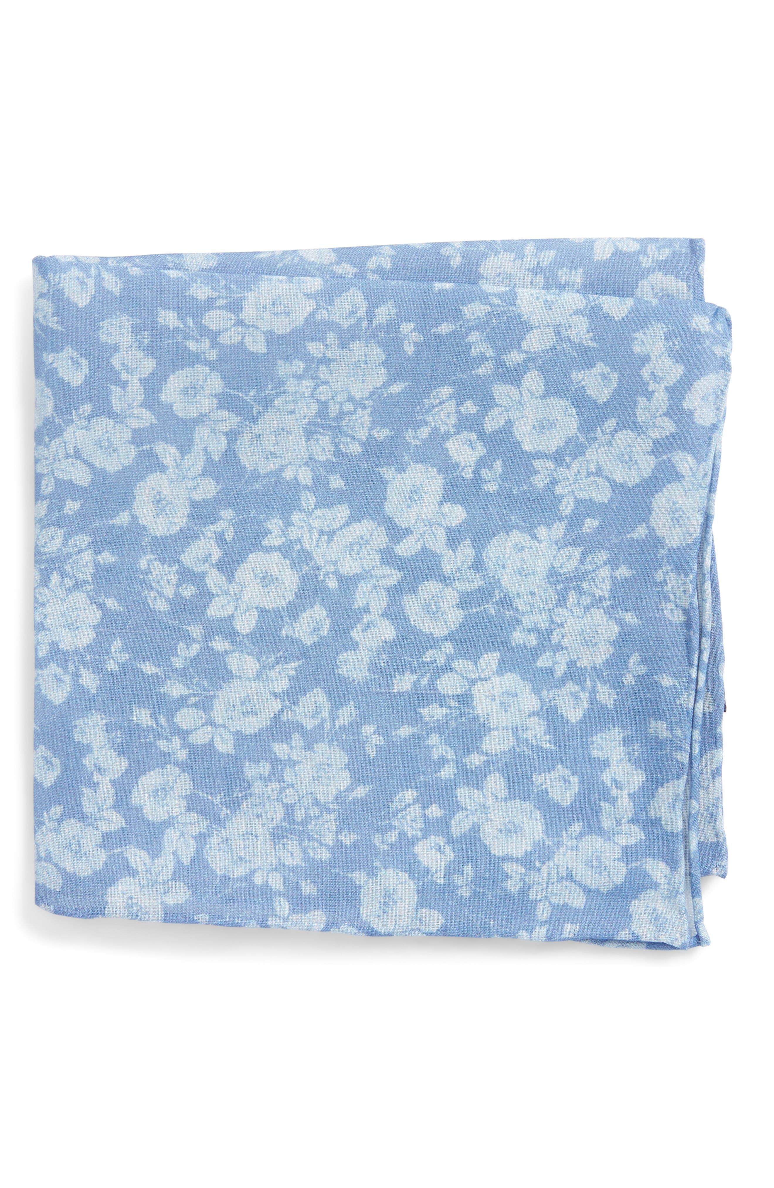 Buds Floral Linen Pocket Square,                         Main,                         color, Light Blue