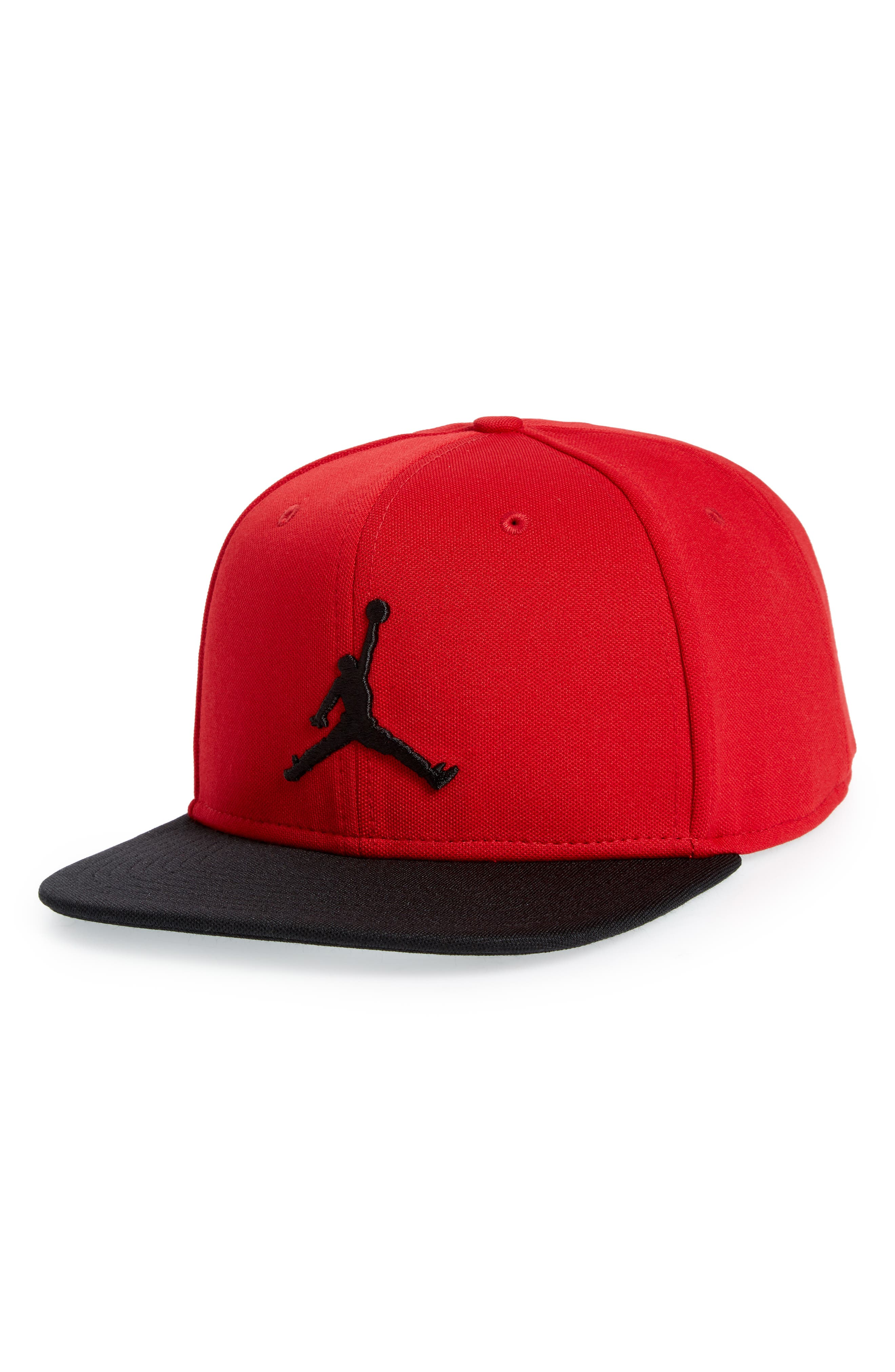 Jumpman Logo Baseball Cap,                             Main thumbnail 1, color,                             Gym Red/ Black