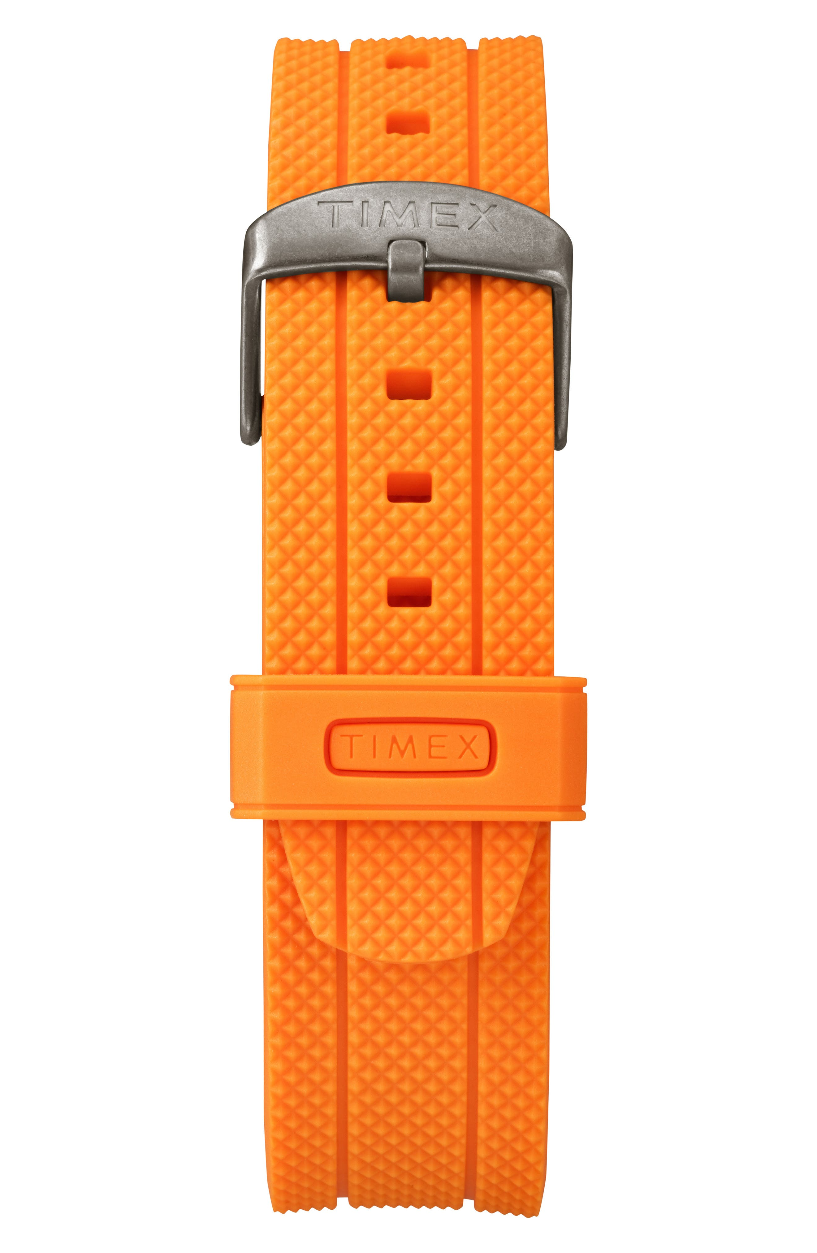 Allied Chronograph Silicone Strap Watch, 42mm,                             Alternate thumbnail 3, color,                             Orange/ Grey