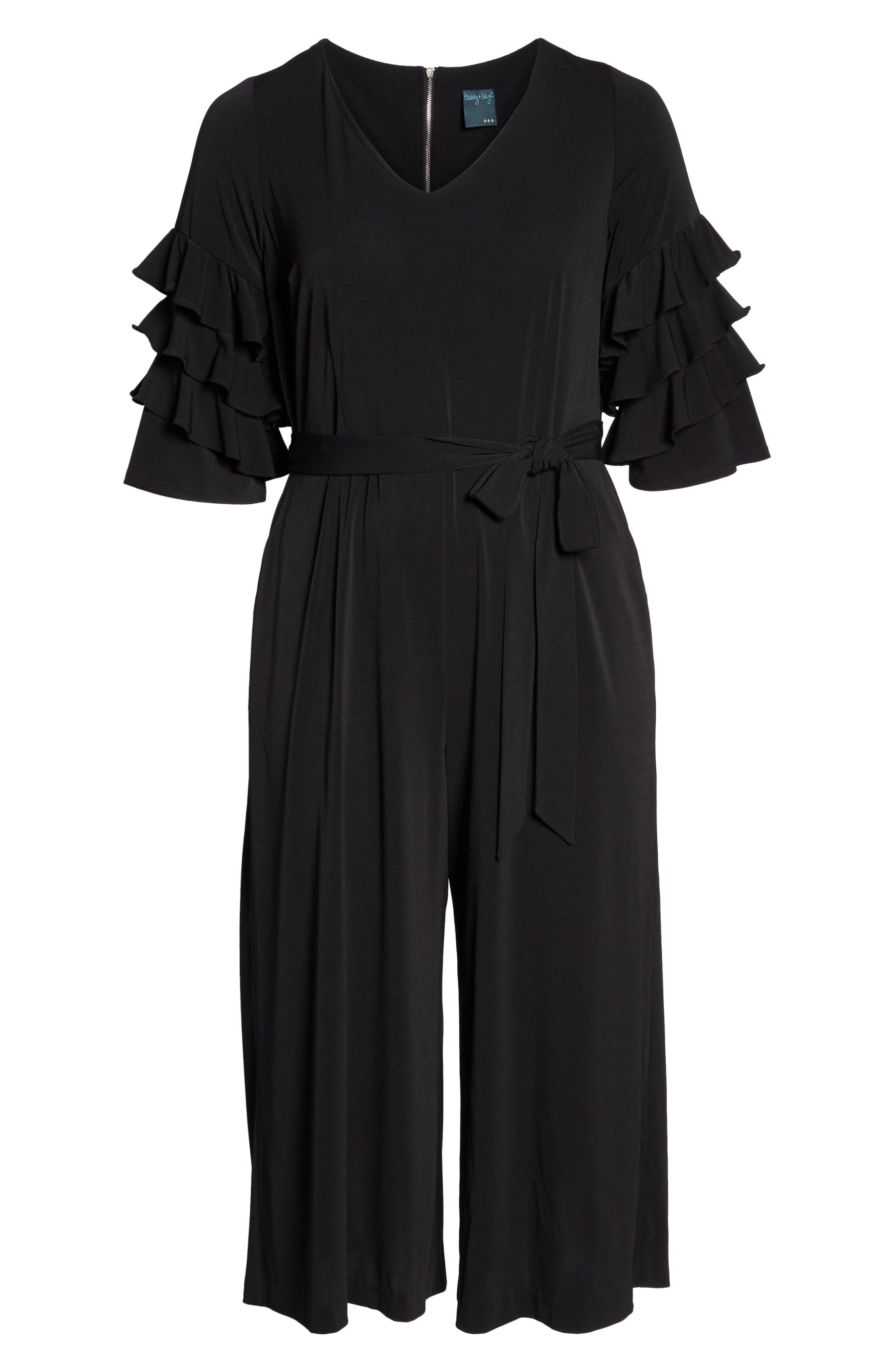 Tiered Ruffle Sleeve Crepe Jumpsuit,                             Alternate thumbnail 6, color,                             Black