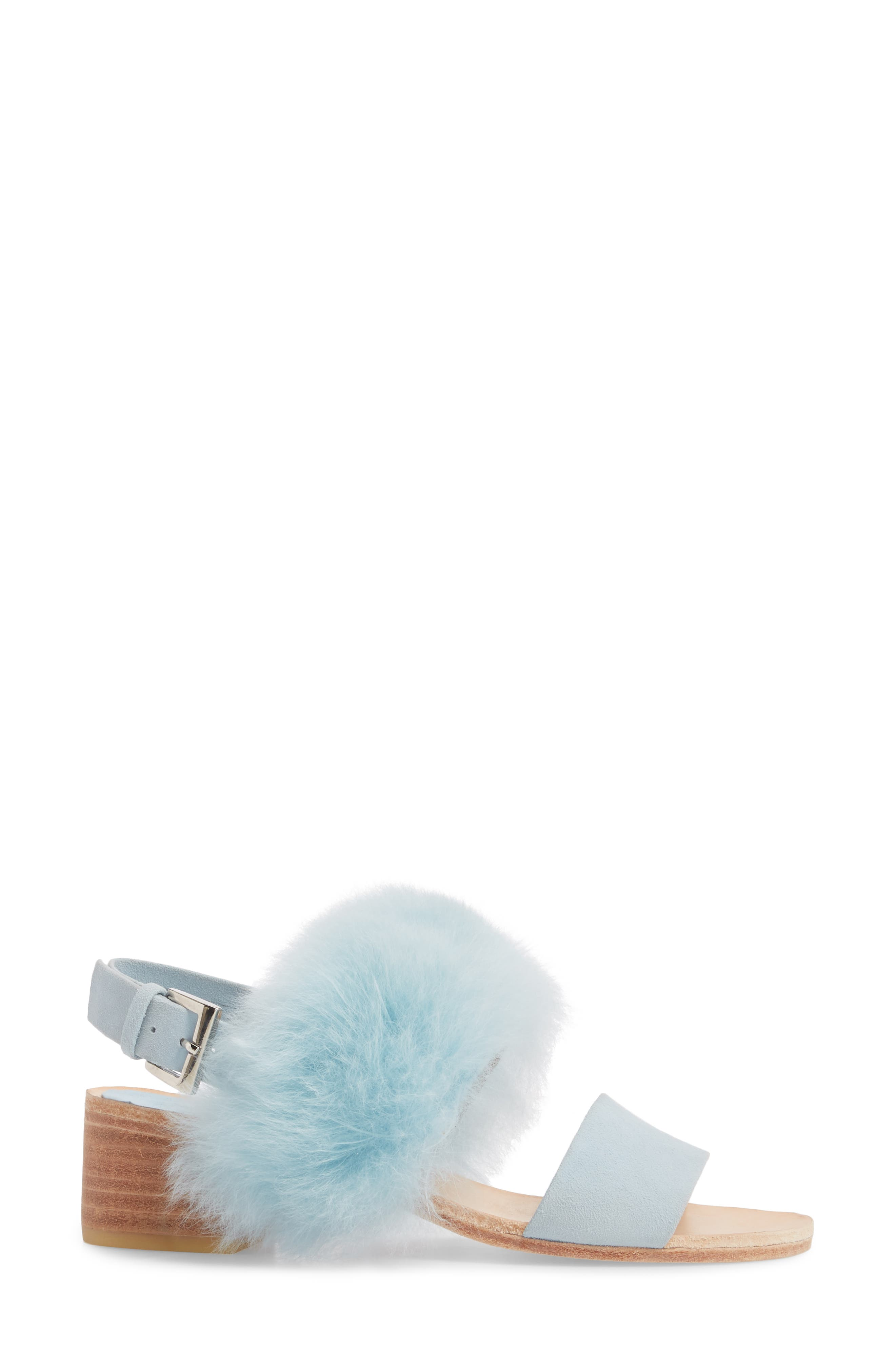 Clemence Genuine Alpaca Fur Sandal,                             Alternate thumbnail 3, color,                             Pastel Blue Suede