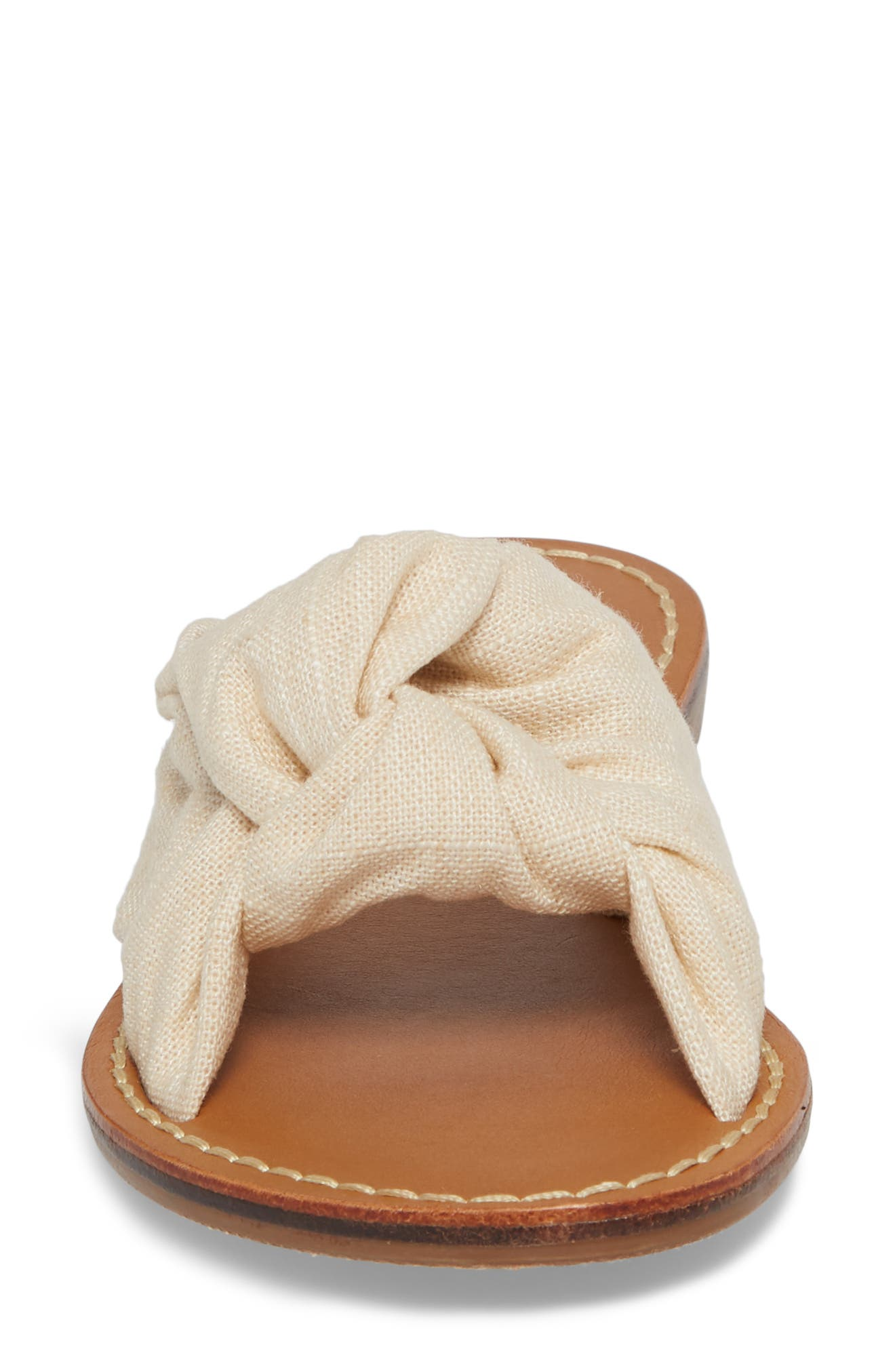 Knotted Slide Sandal,                             Alternate thumbnail 4, color,                             Blush Fabric