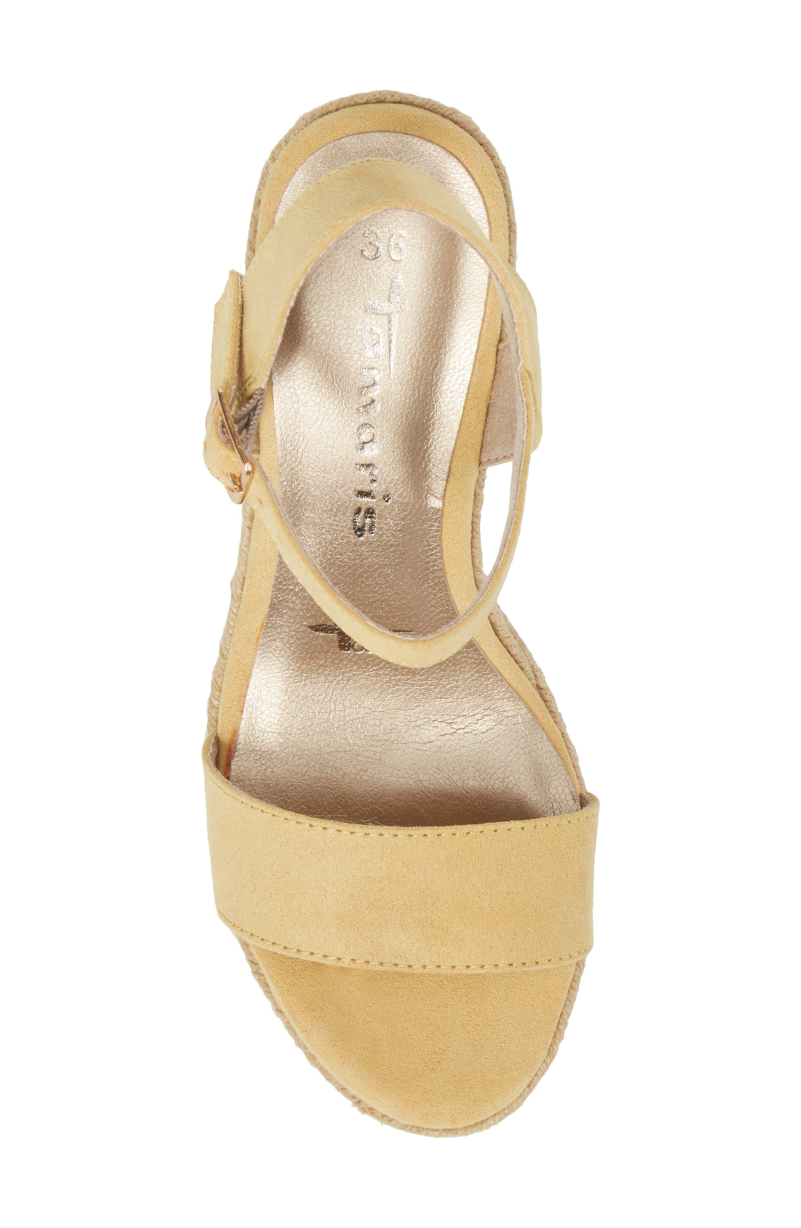 Livia Espadrille Wedge Sandal,                             Alternate thumbnail 5, color,                             Saffron Fabric
