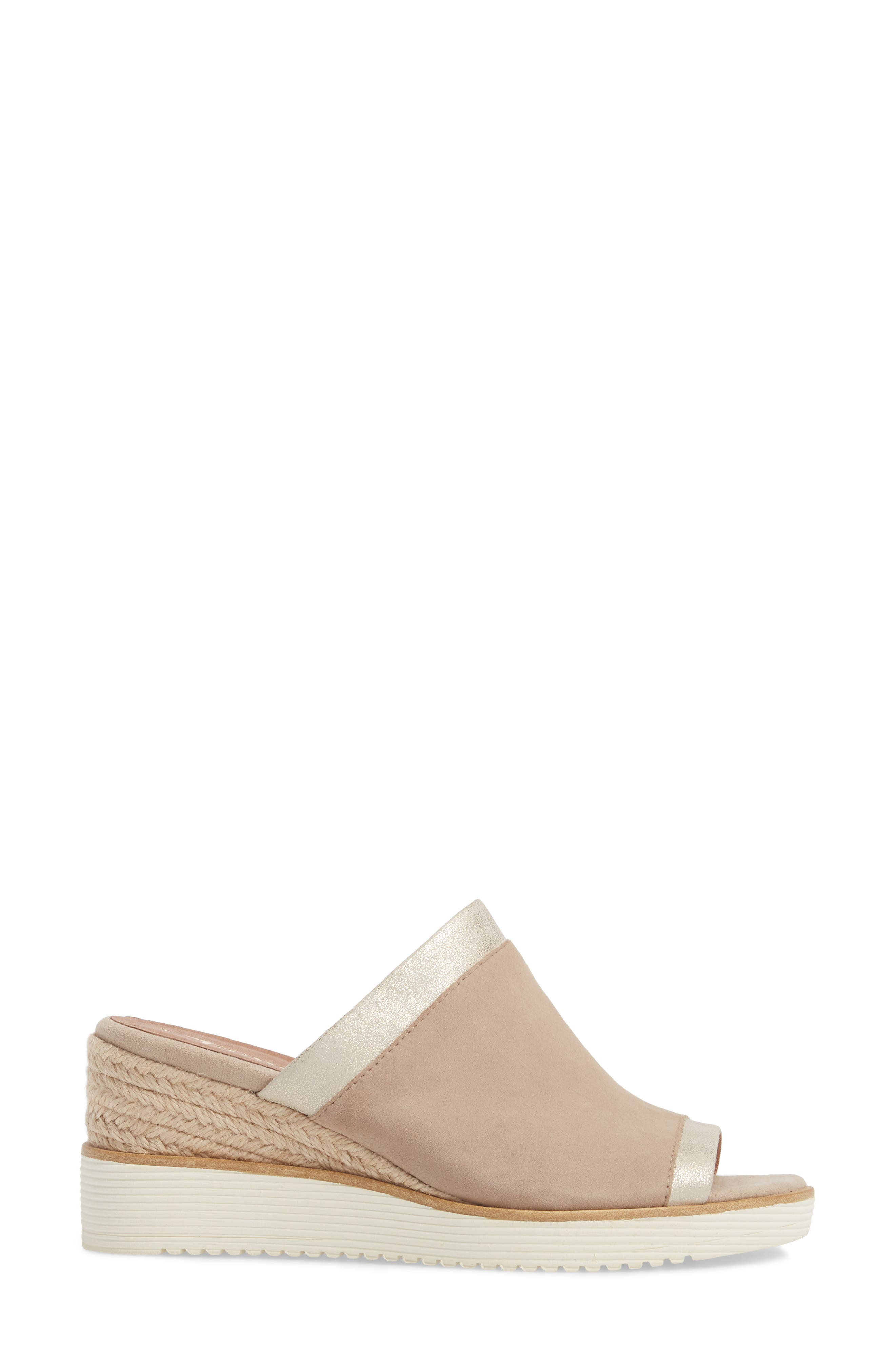 Alis Wedge Sandal,                             Alternate thumbnail 3, color,                             Shell Leather