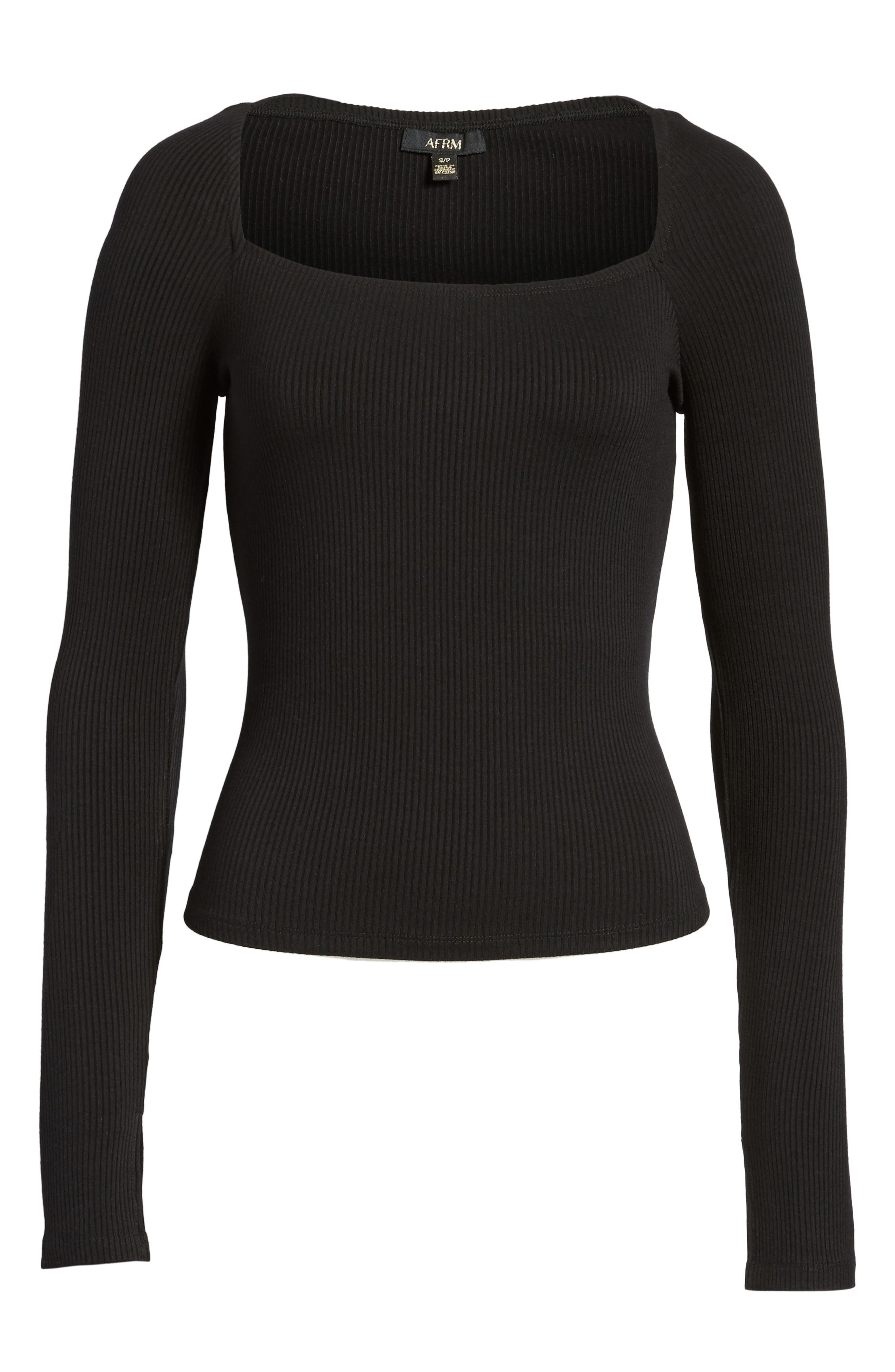 Taylor Ribbed Top,                             Alternate thumbnail 7, color,                             Noir