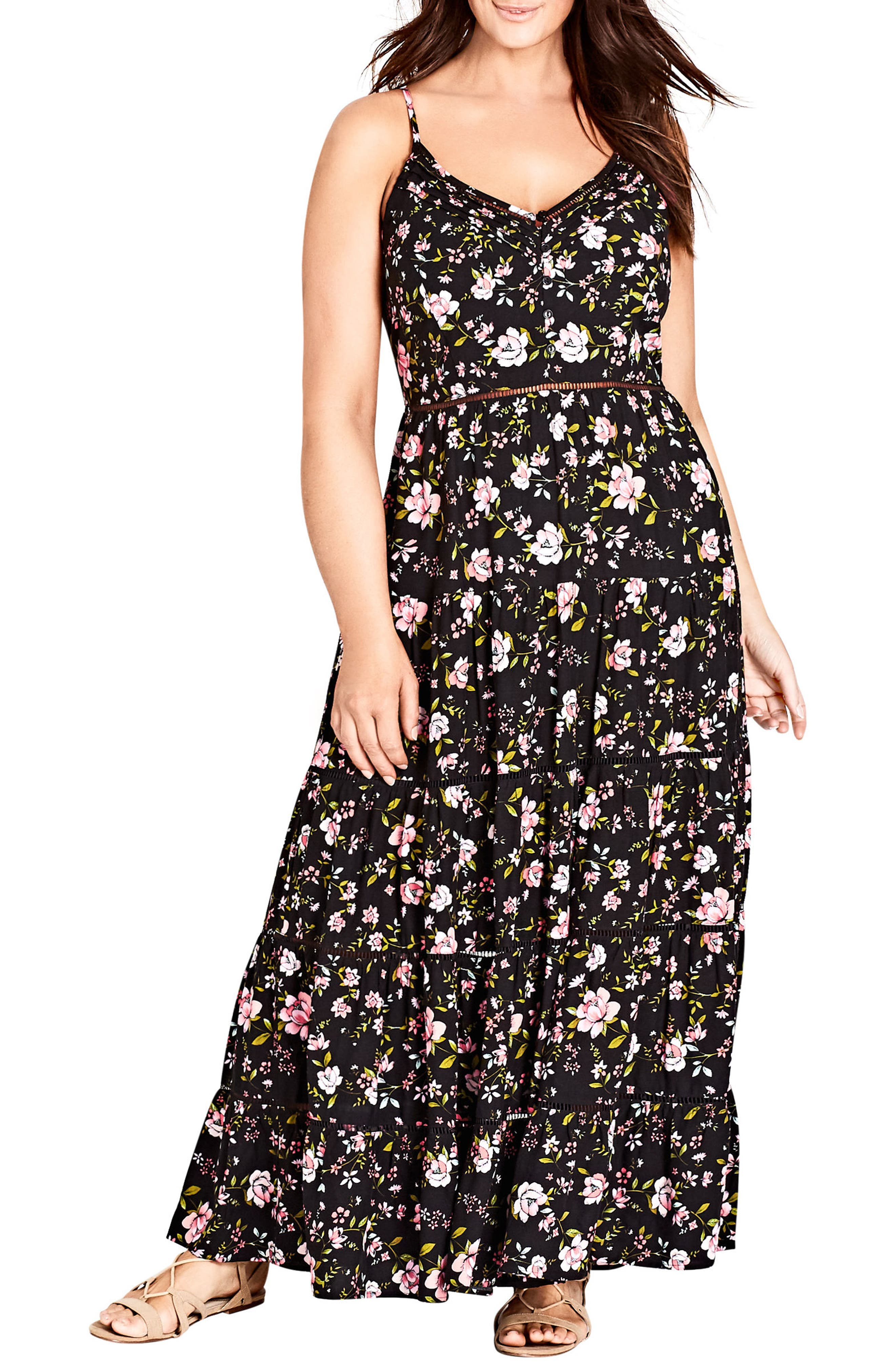 Festival Vibe Maxi Dress,                             Main thumbnail 1, color,                             Black Print