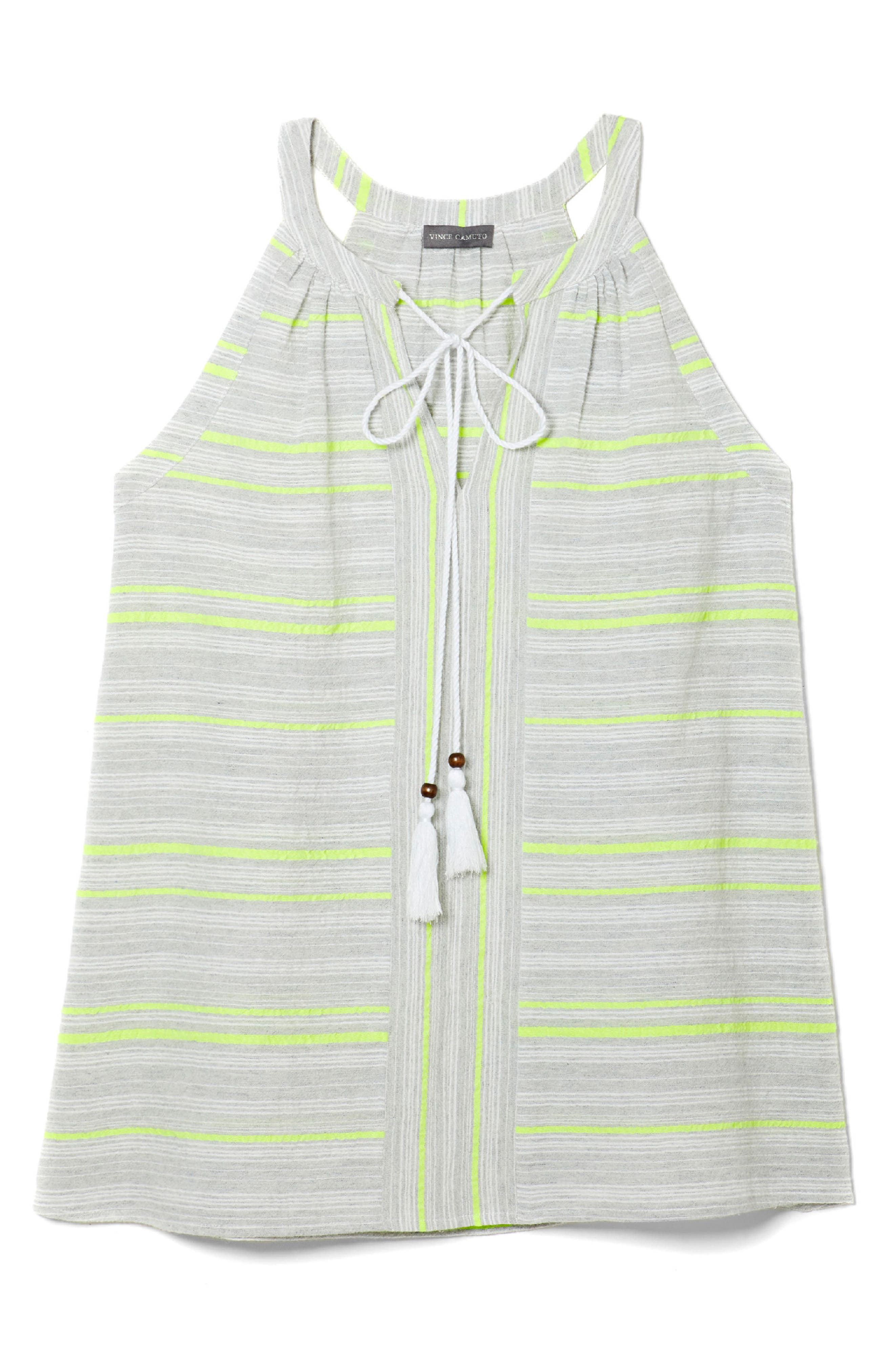 Cotton Blend Gauze Halter Top,                             Alternate thumbnail 3, color,                             Island Lime