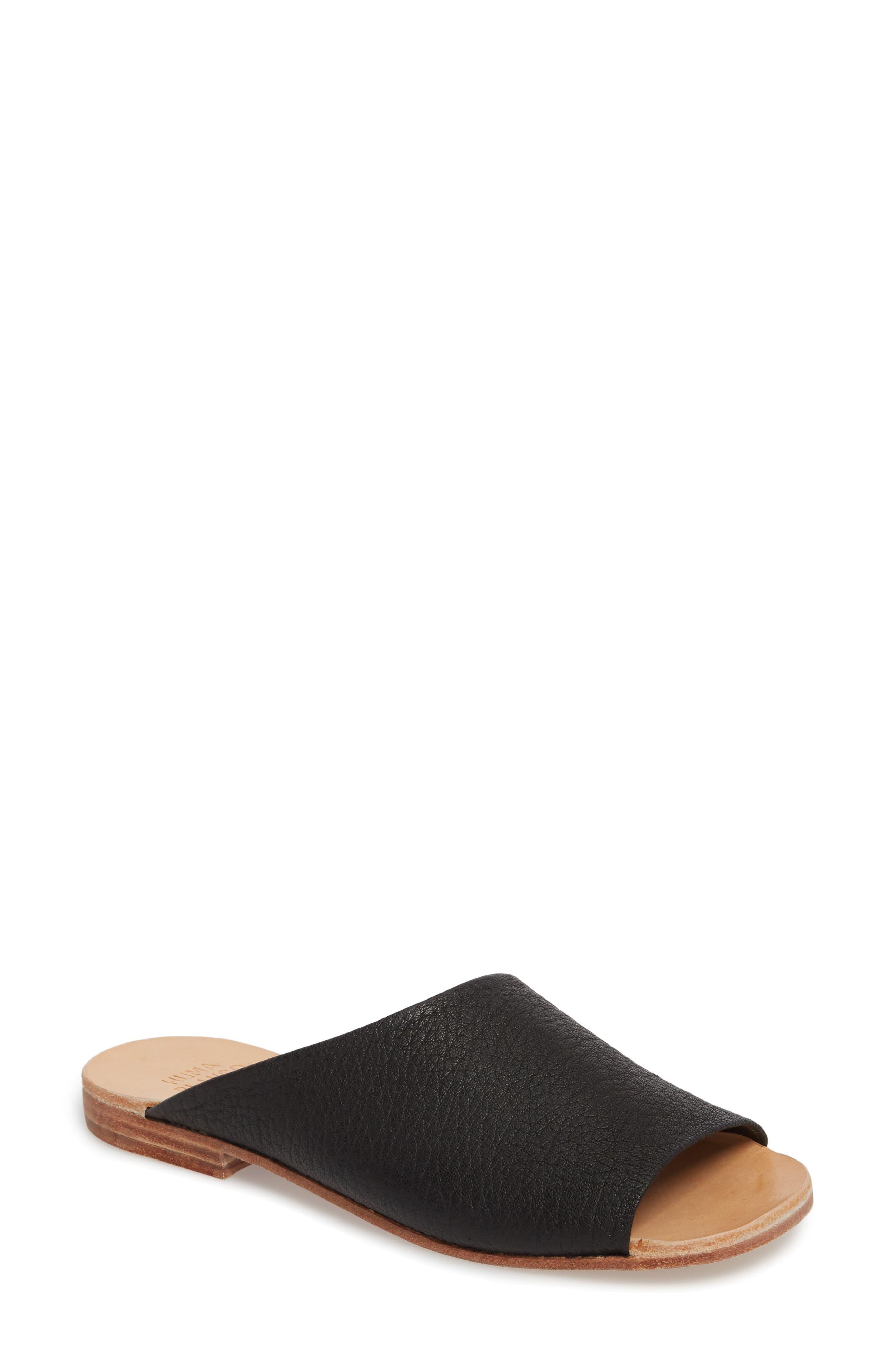Esperanza Slide Sandal,                             Main thumbnail 1, color,                             Coal Leather