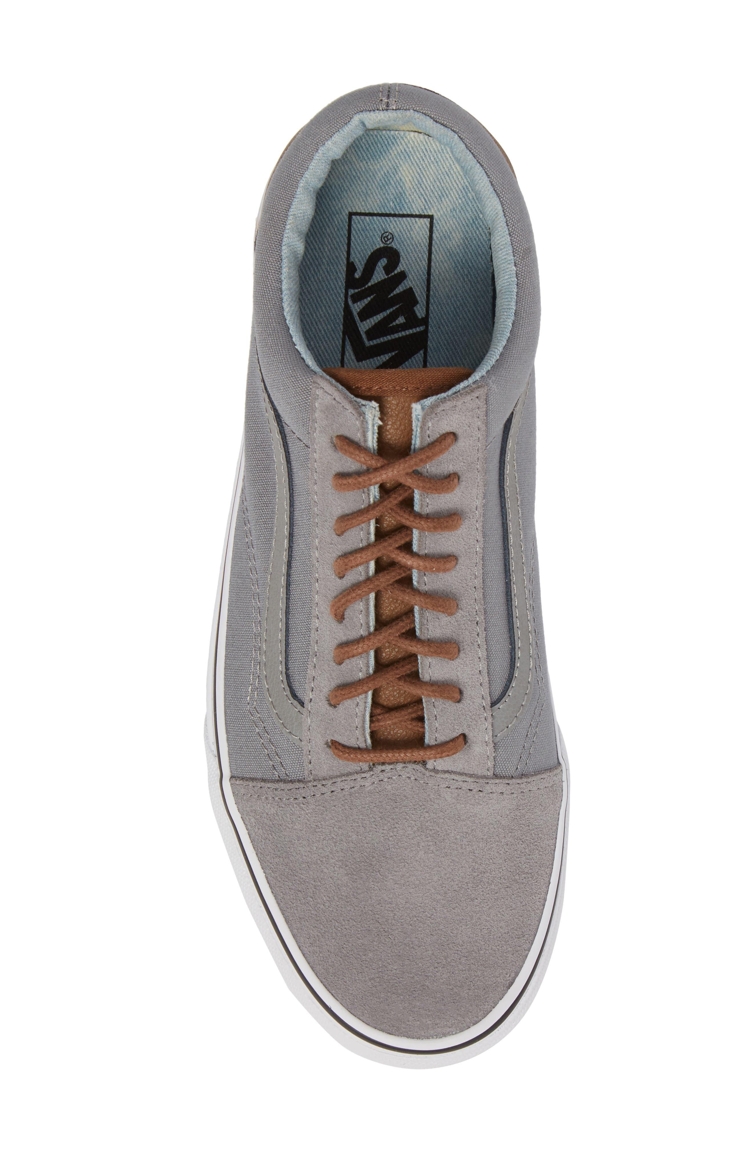 Old Skool Low Top Sneaker,                             Alternate thumbnail 5, color,                             Frost Grey/ Acid Denim Leather