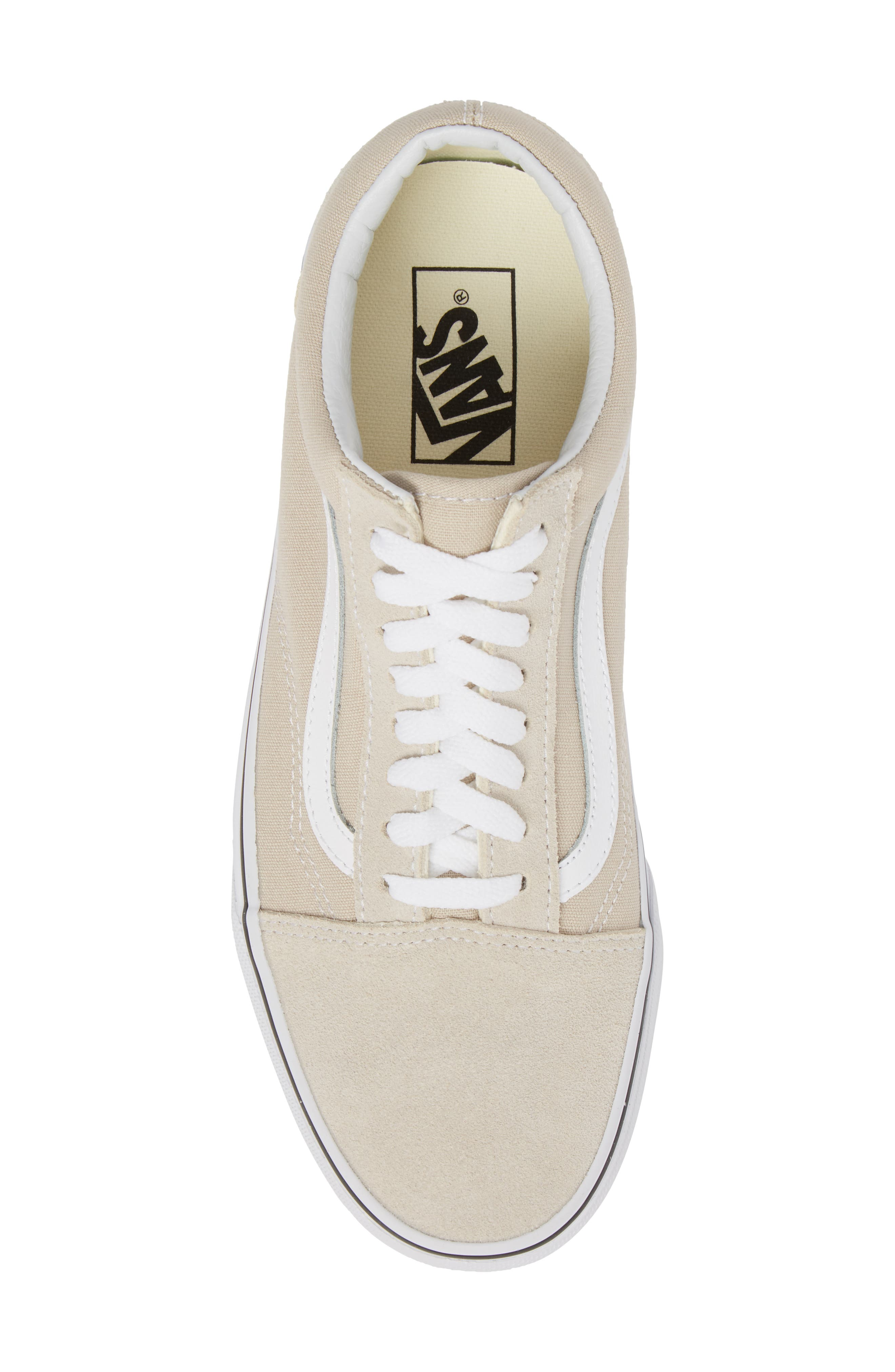 Old Skool Low Top Sneaker,                             Alternate thumbnail 5, color,                             Silver Lining/ White Leather
