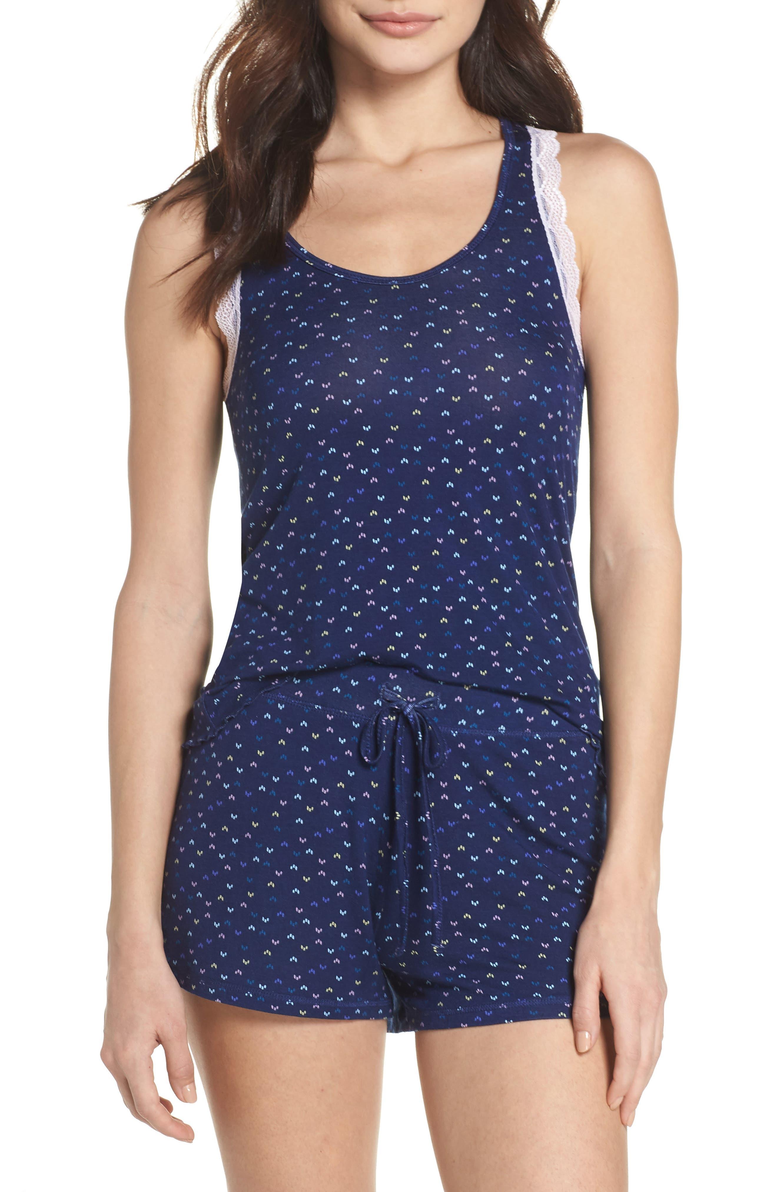 All American Lace Trim Short Pajamas,                             Main thumbnail 1, color,                             Midnight Moon