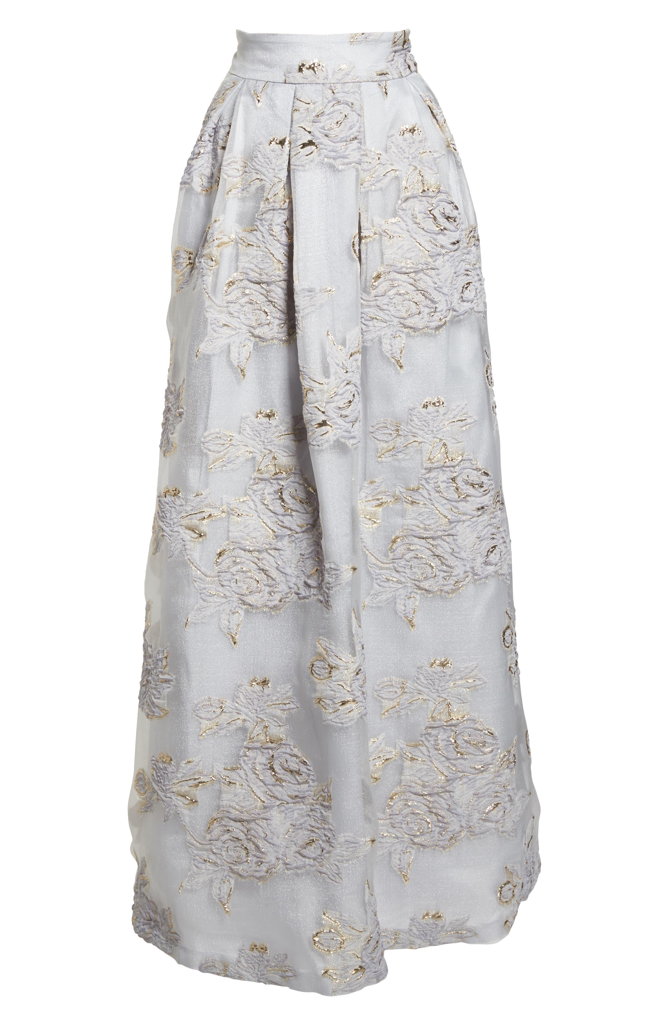 Jacquard Ball Skirt,                             Alternate thumbnail 7, color,                             Silver
