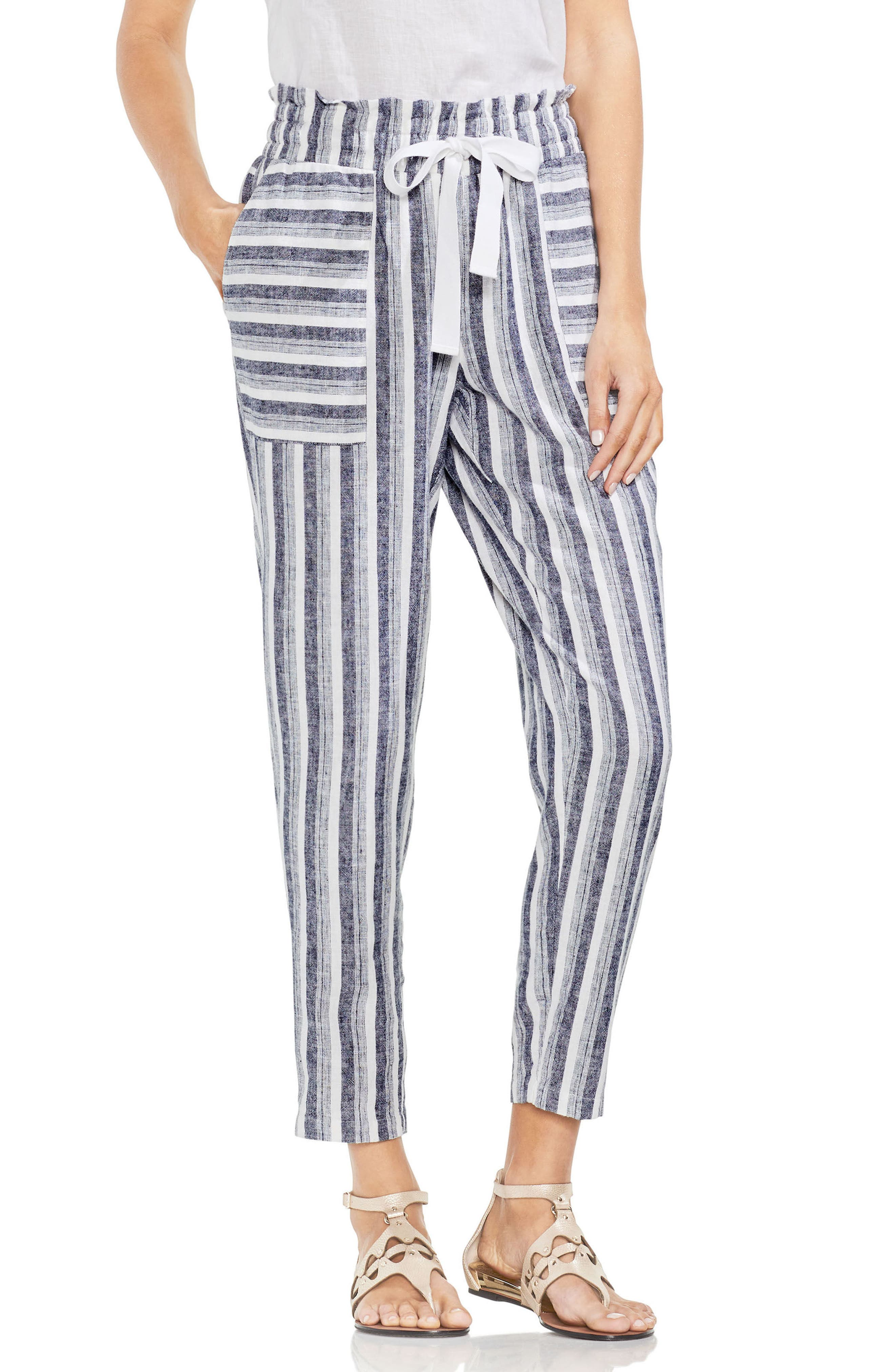 Vince Camuto Shore Linen Blend Stripe Drawstring Pants