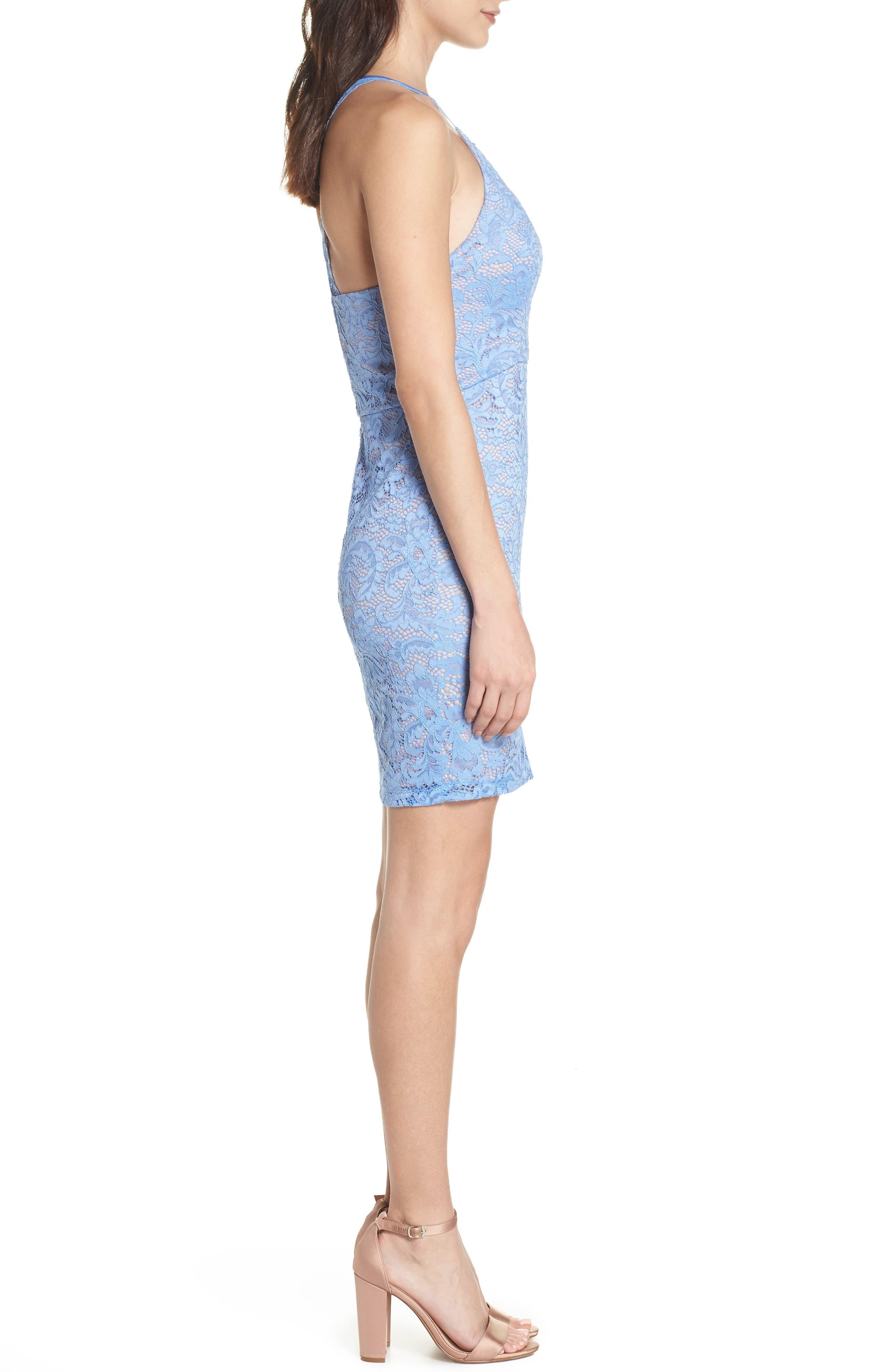 Racerback Lace Halter Dress,                             Alternate thumbnail 3, color,                             Periwinkle/ Mauve