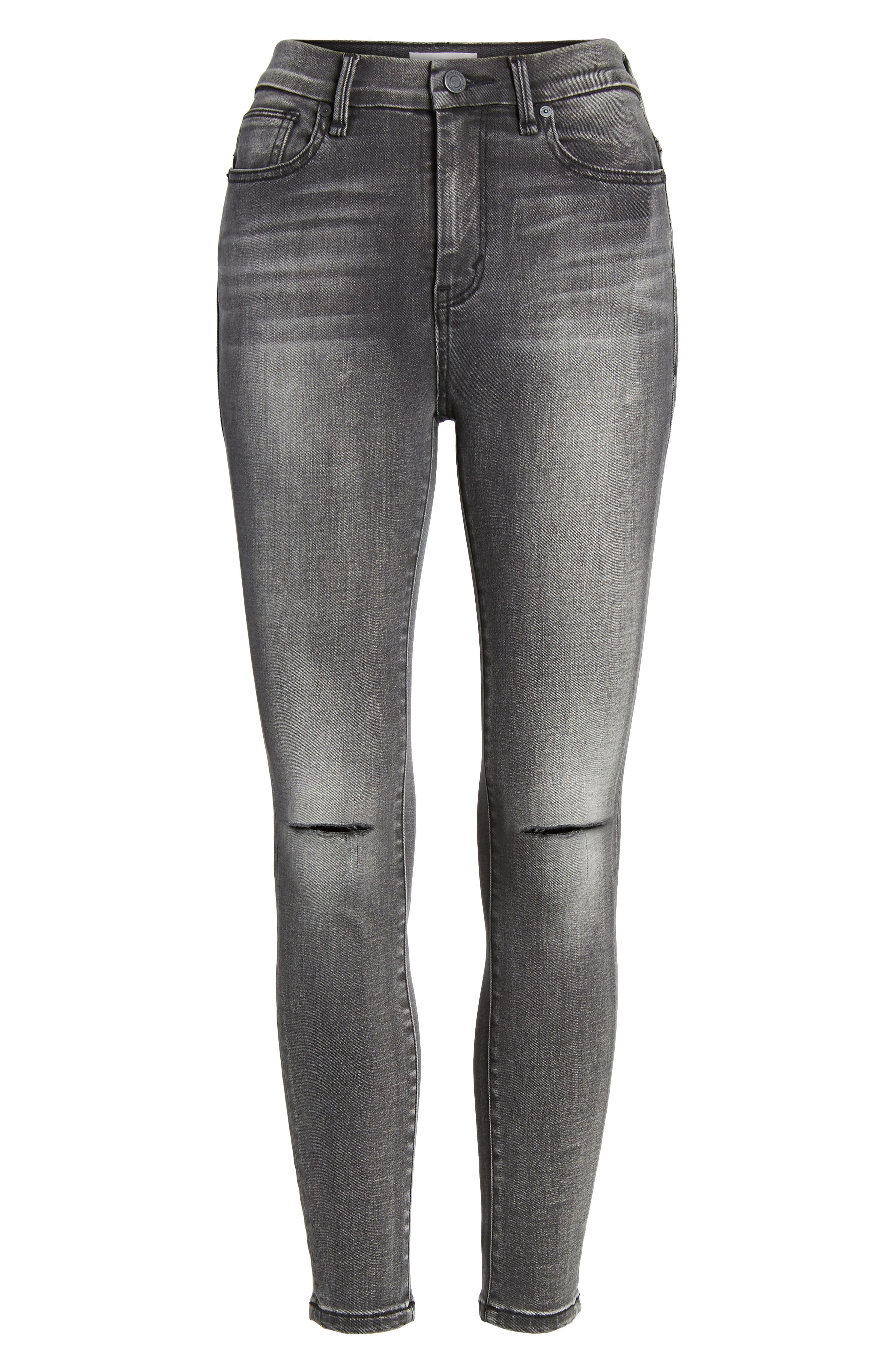 Cressa High Rise Ankle Skinny Jeans,                             Alternate thumbnail 7, color,                             Obsidian