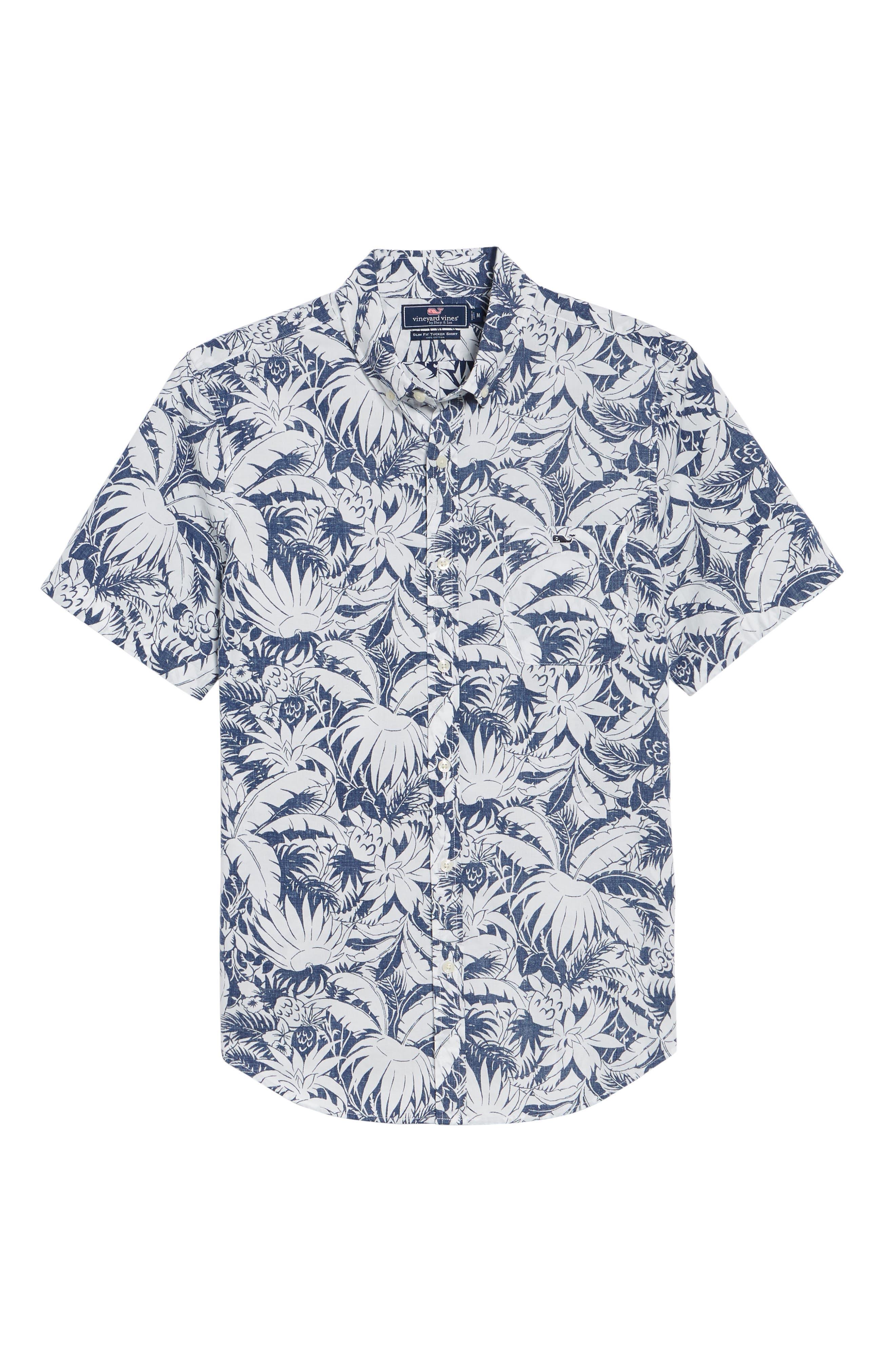 Slim Fit Print Short Sleeve Sport Shirt,                             Alternate thumbnail 6, color,                             Deep Bay