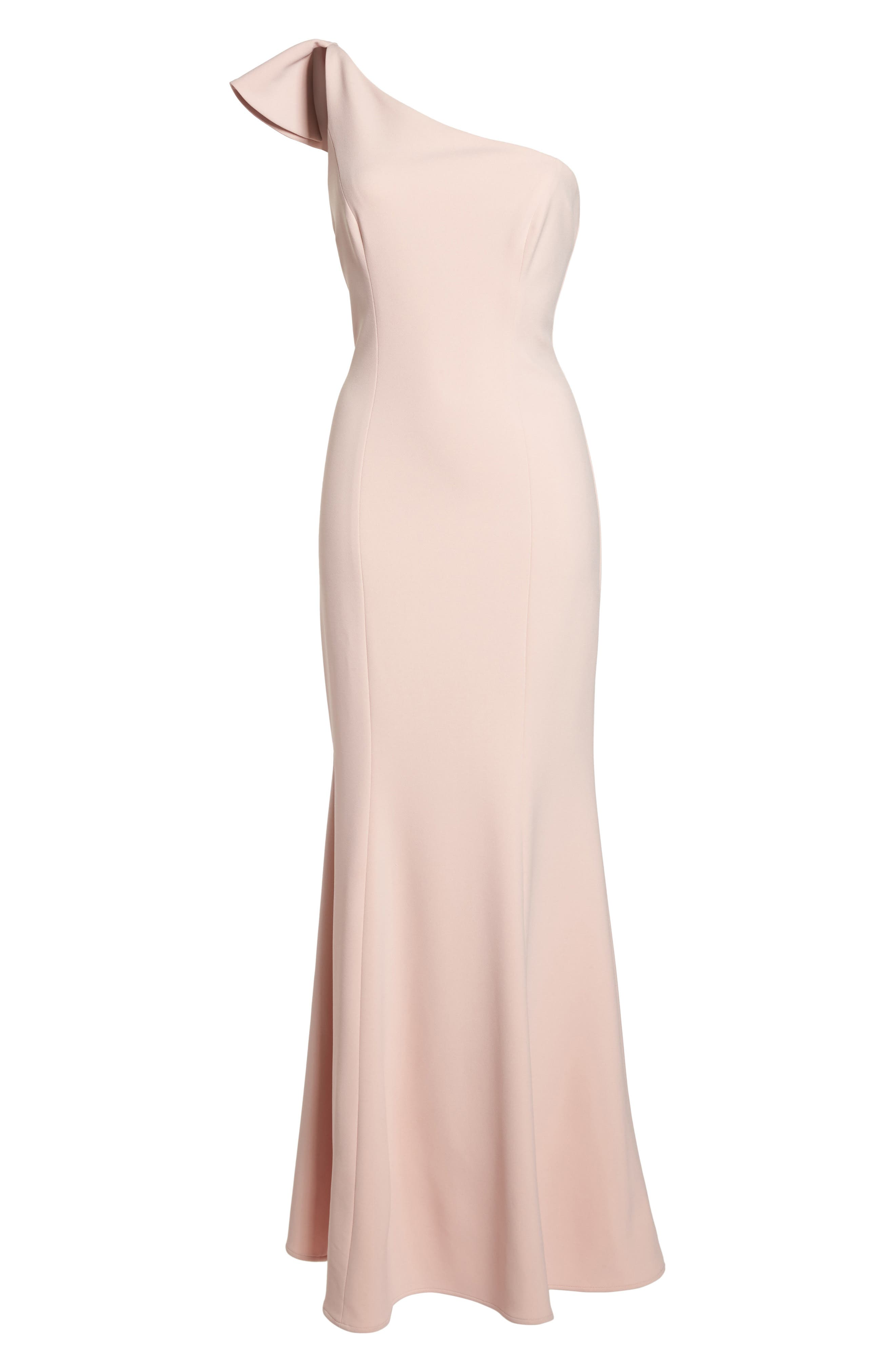 One-Shoulder Ruffle Gown,                             Alternate thumbnail 7, color,                             Blush