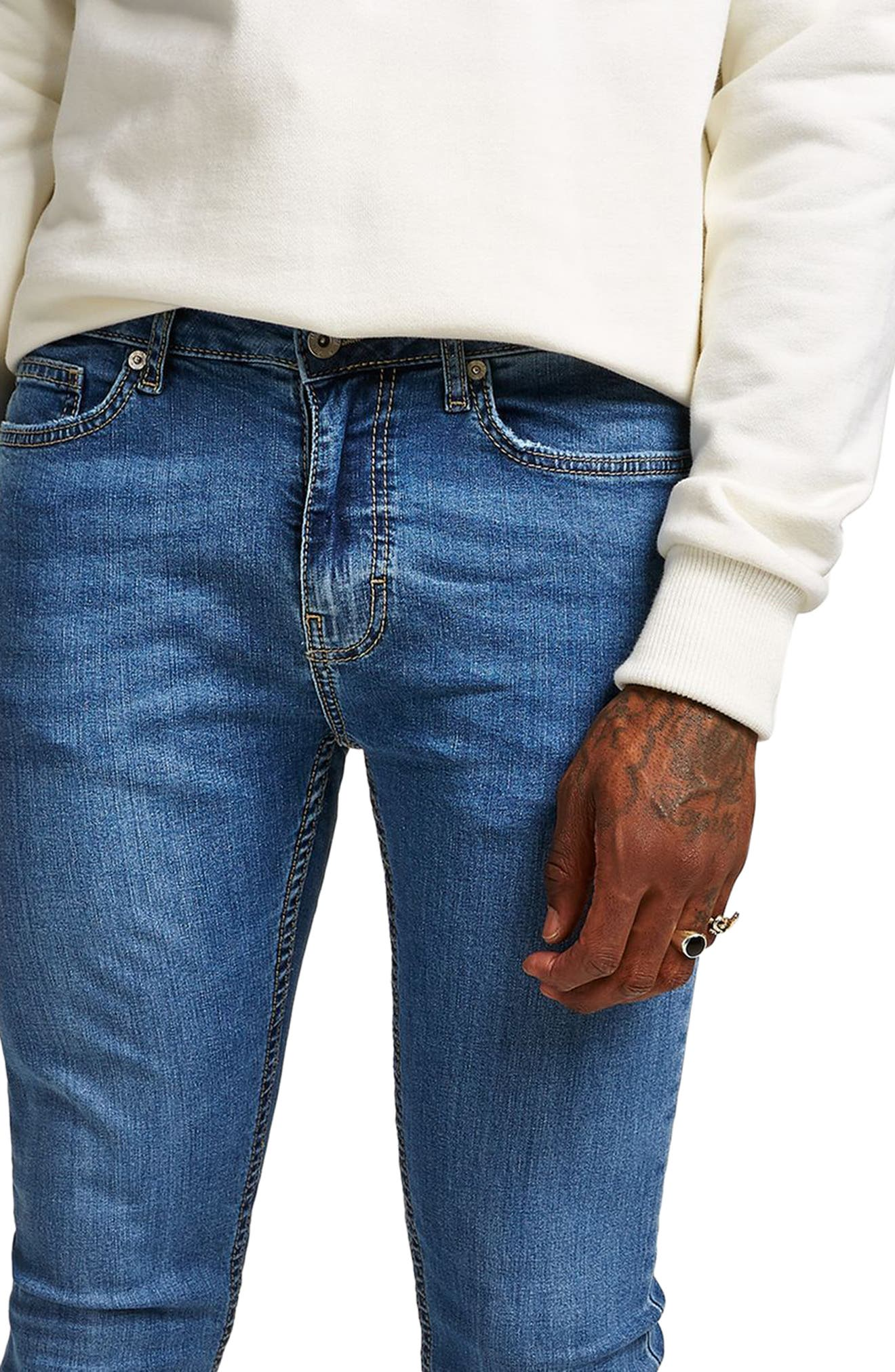 Skinny Fit Spray-On Jeans,                             Alternate thumbnail 3, color,                             Blue