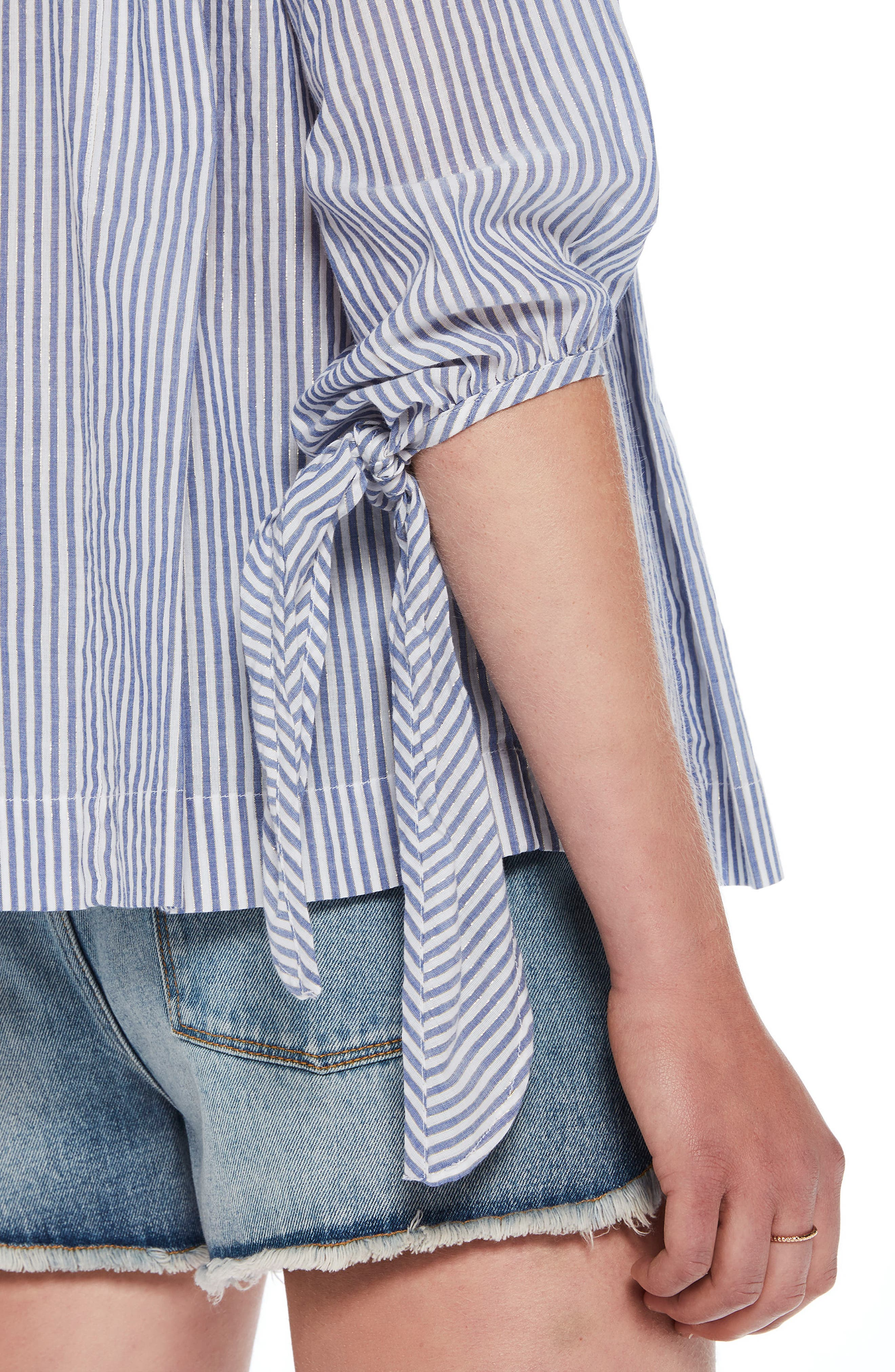 Metallic Stripe Tie Sleeve Top,                             Alternate thumbnail 3, color,                             Combo A
