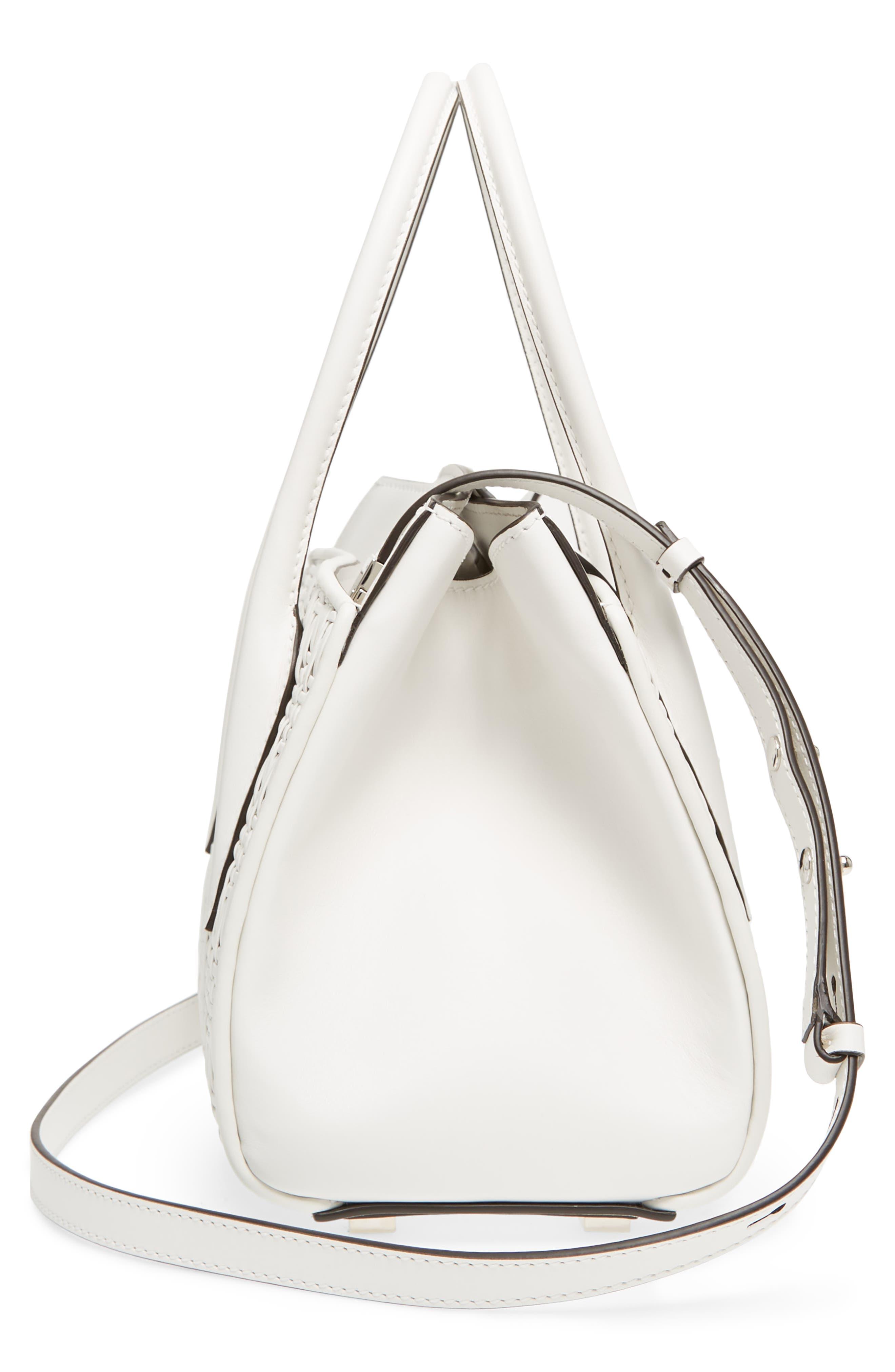 Medium Bancroft Leather Satchel,                             Alternate thumbnail 5, color,                             Optic White