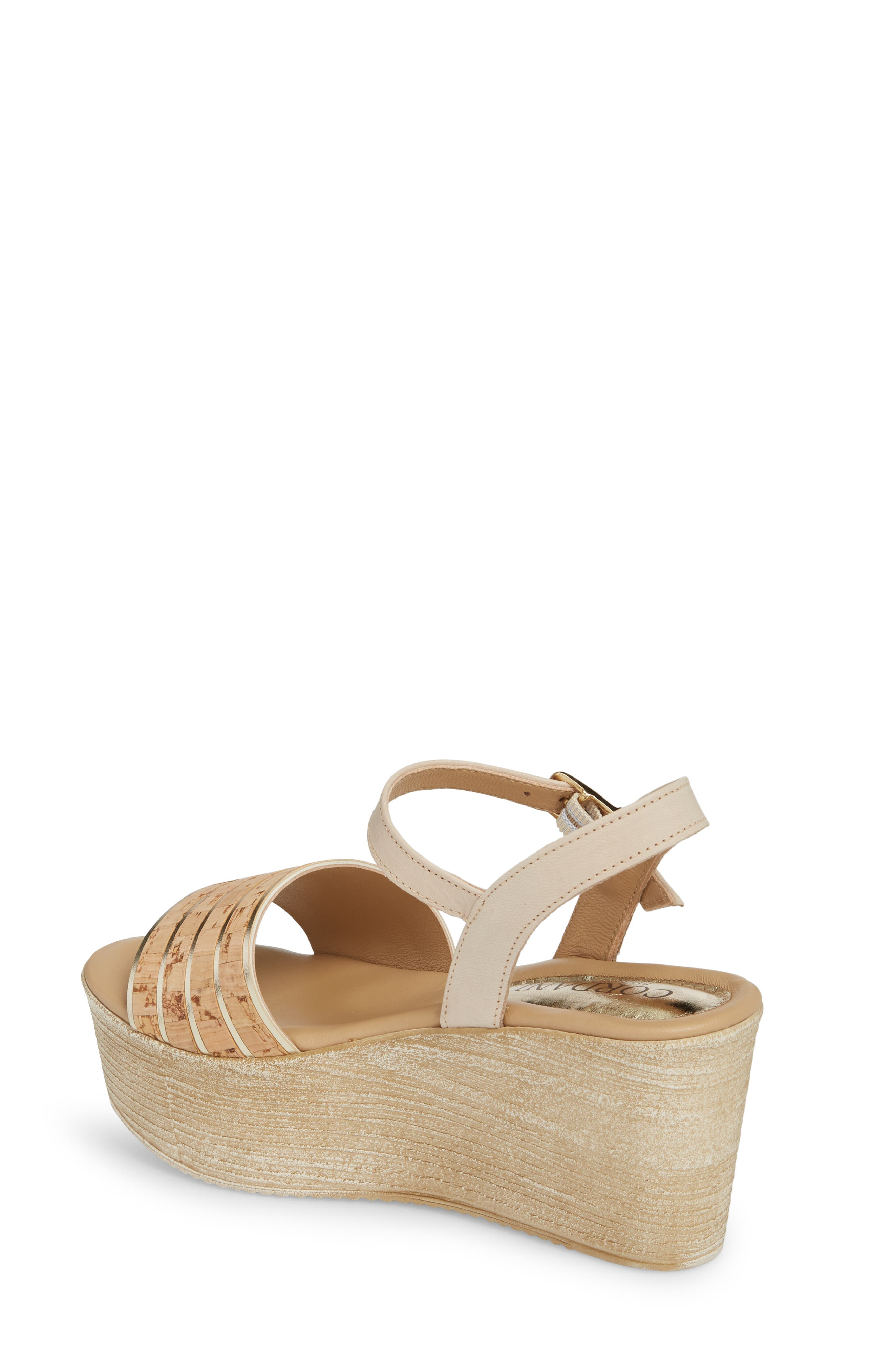 Jaida Platform Wedge Sandal,                             Alternate thumbnail 2, color,                             Cork/ Gold