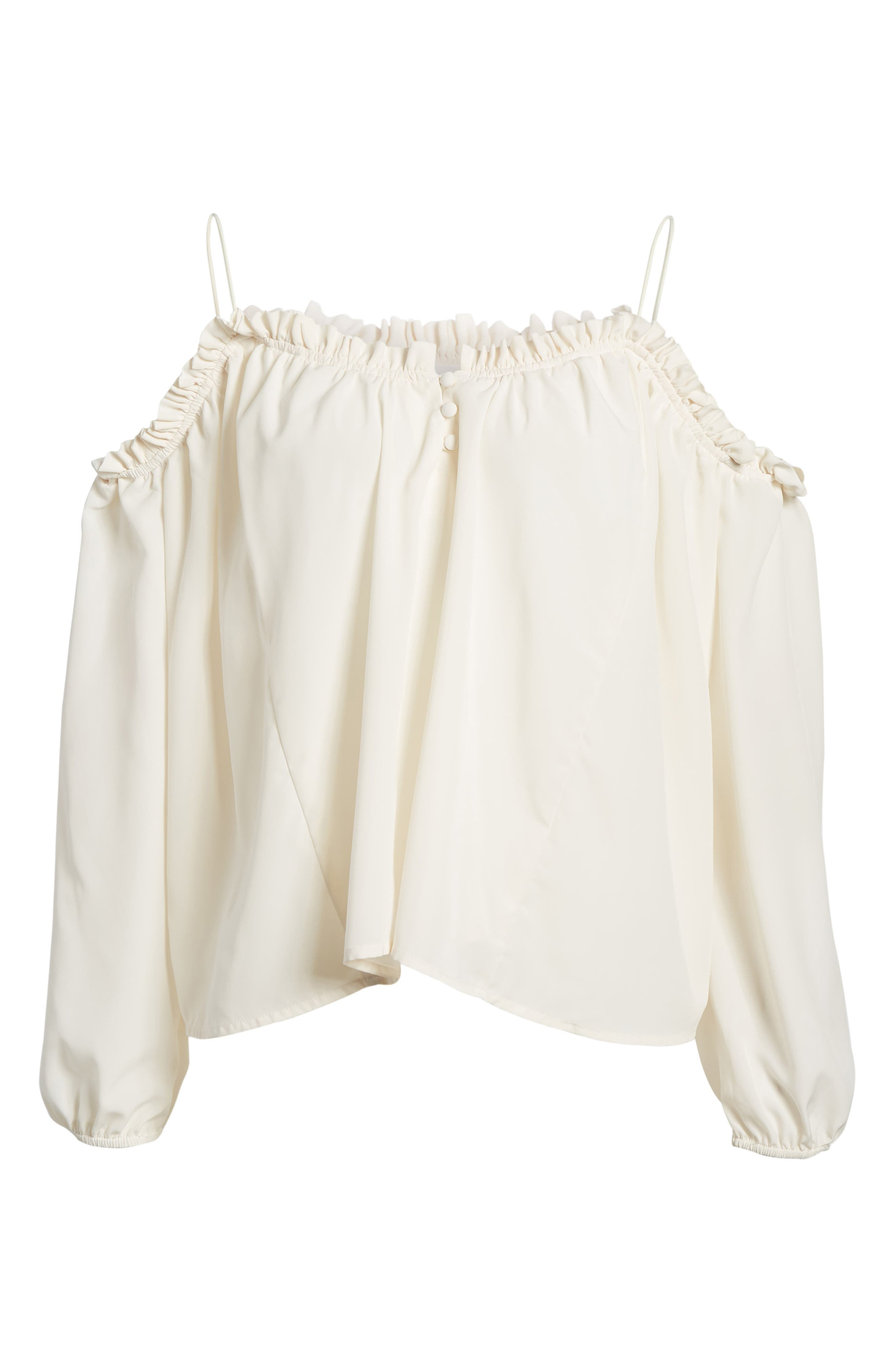 Cold Shoulder Blouson Top,                             Alternate thumbnail 7, color,                             Ivory Egret