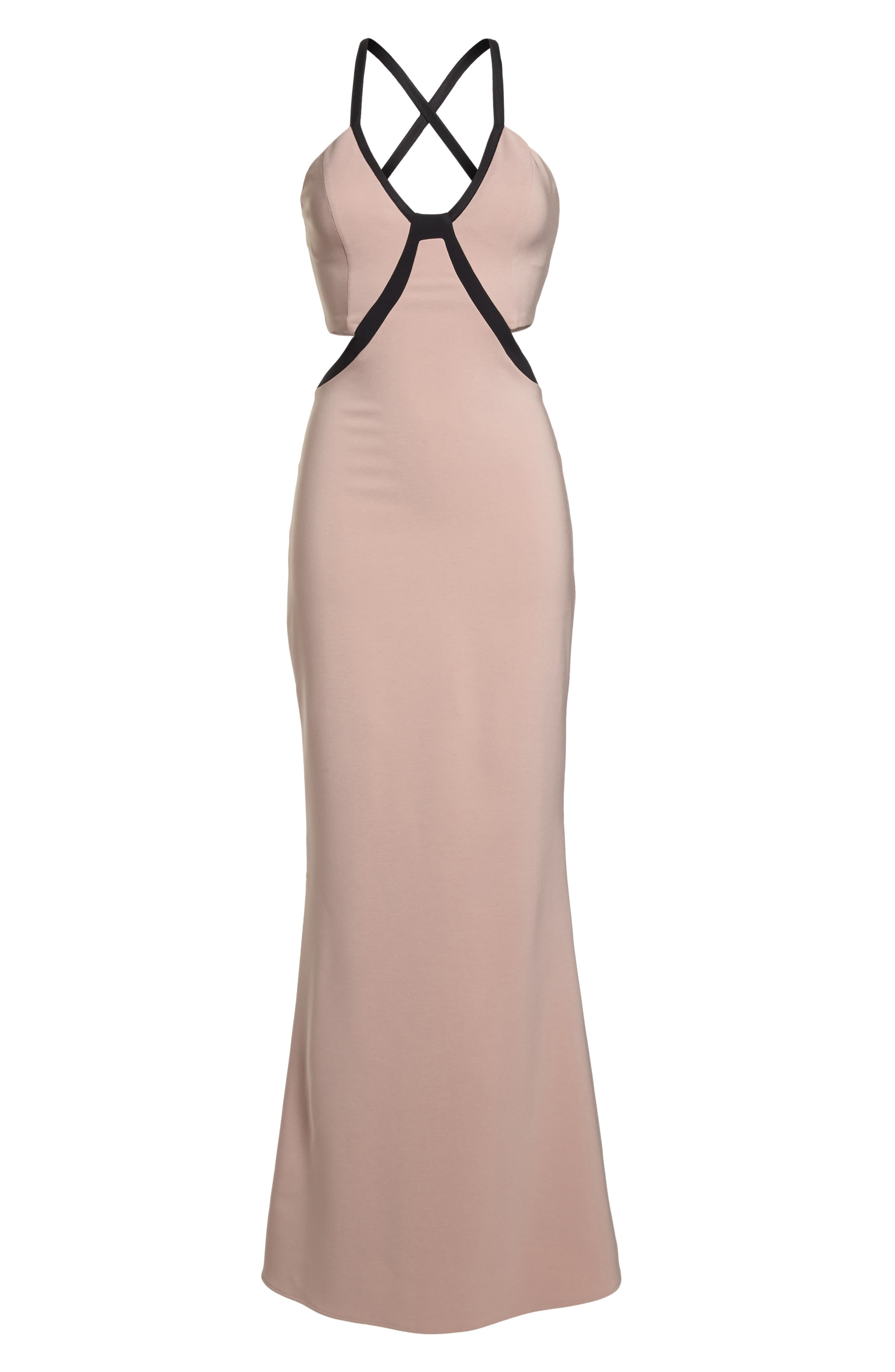Chloe Bodice Cutout Gown,                             Alternate thumbnail 6, color,                             Blush