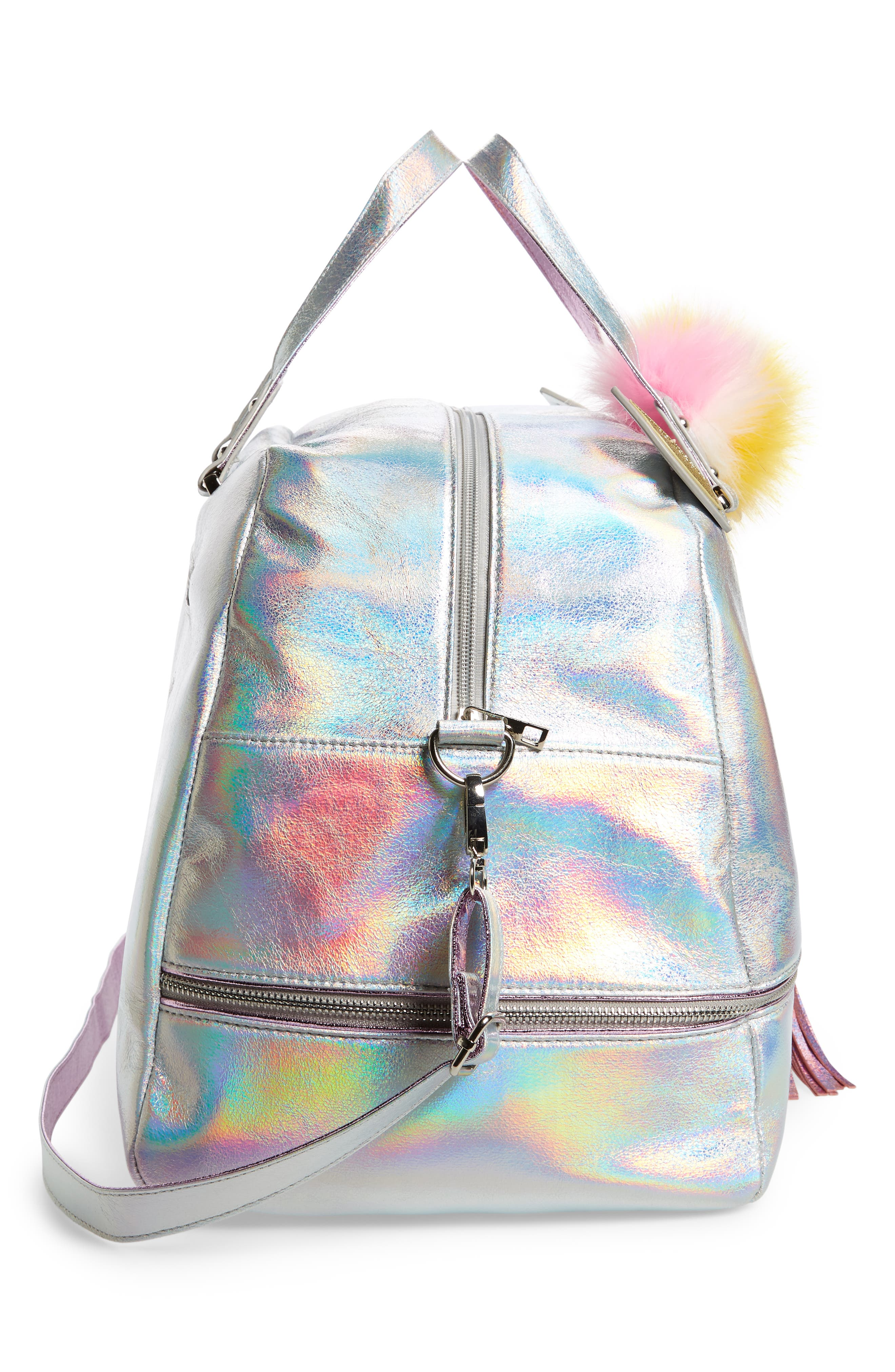 Duffel Bag,                             Alternate thumbnail 3, color,                             Silver Iridescent Unicorn