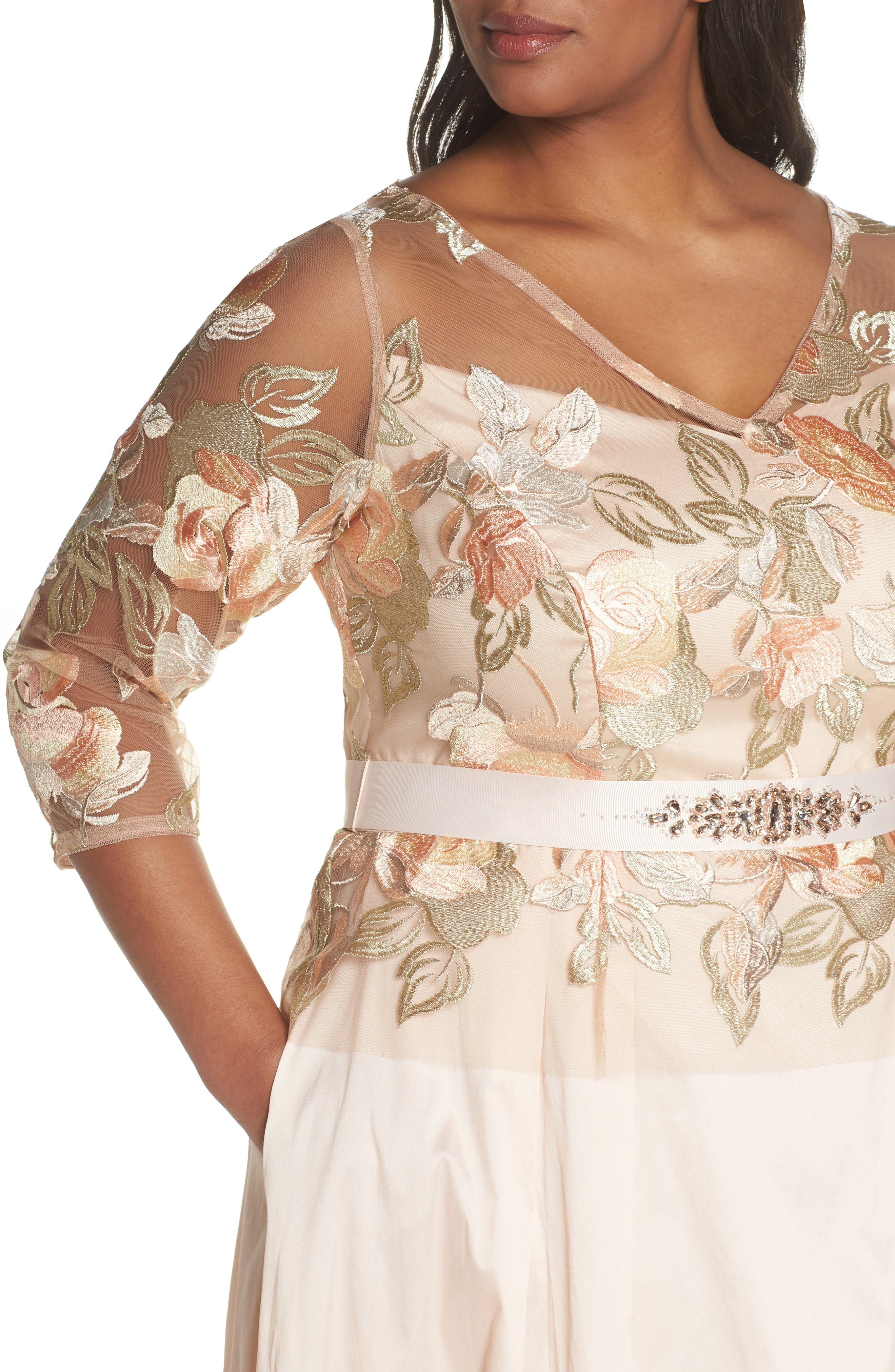 Floral Embroidered Gown,                             Alternate thumbnail 4, color,                             Pale Peach Multi