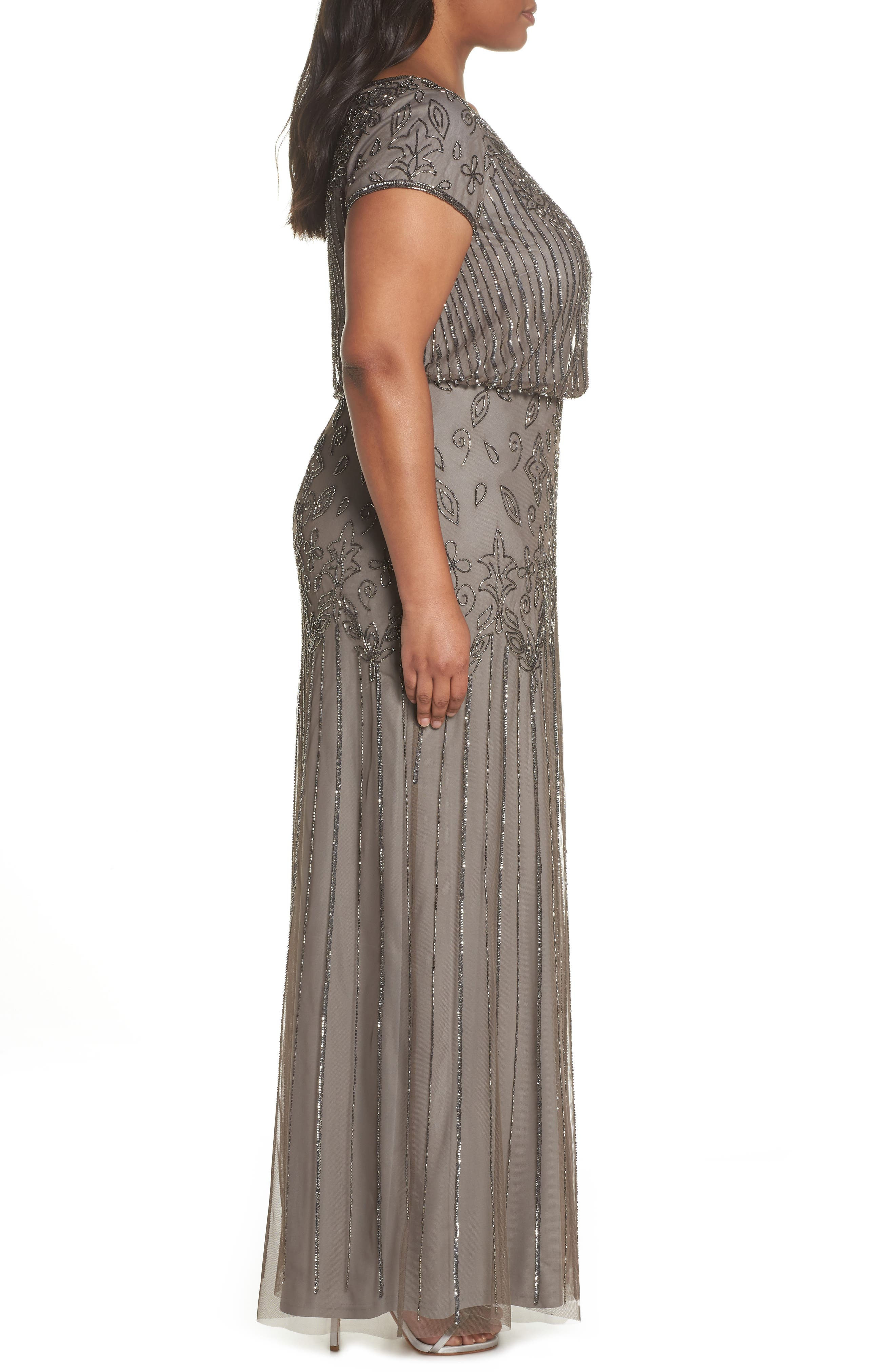 Beaded Blouson Gown,                             Alternate thumbnail 3, color,                             Lead