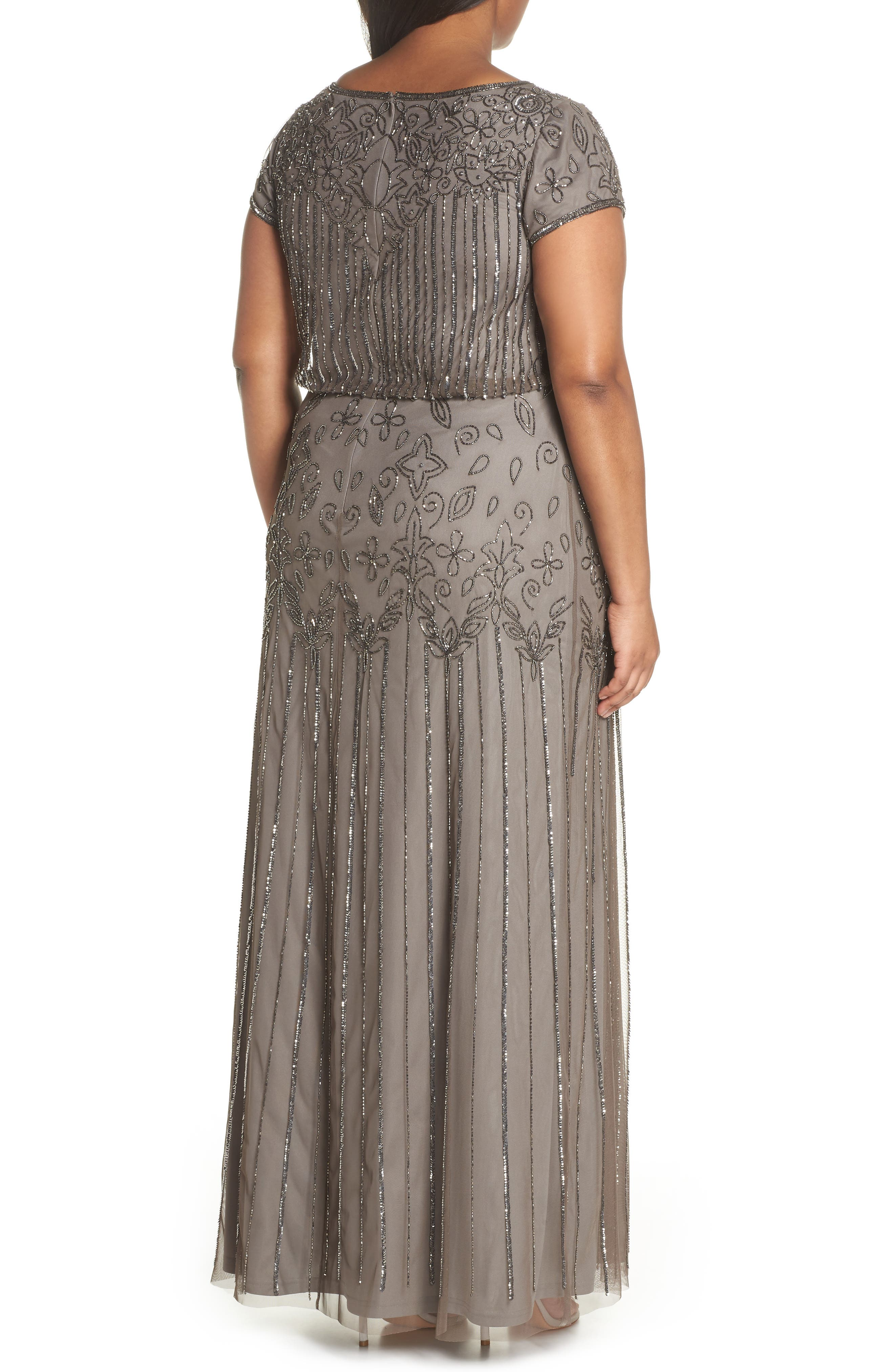 Alternate Image 2  - Adrianna Papell Beaded Blouson Gown (Plus Size)
