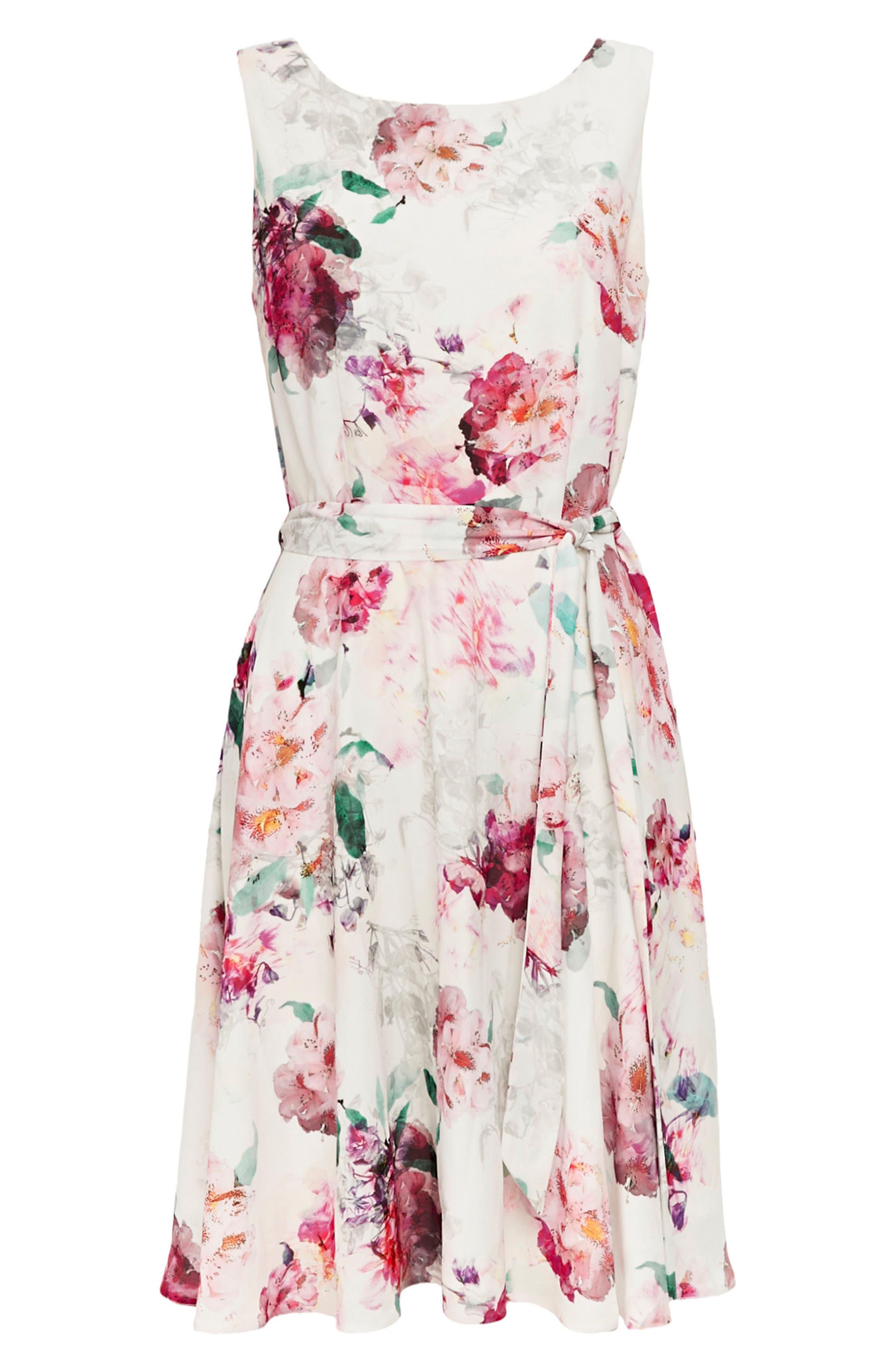 Pretty Bloom Fit & Flare Dress,                             Alternate thumbnail 5, color,                             Cream