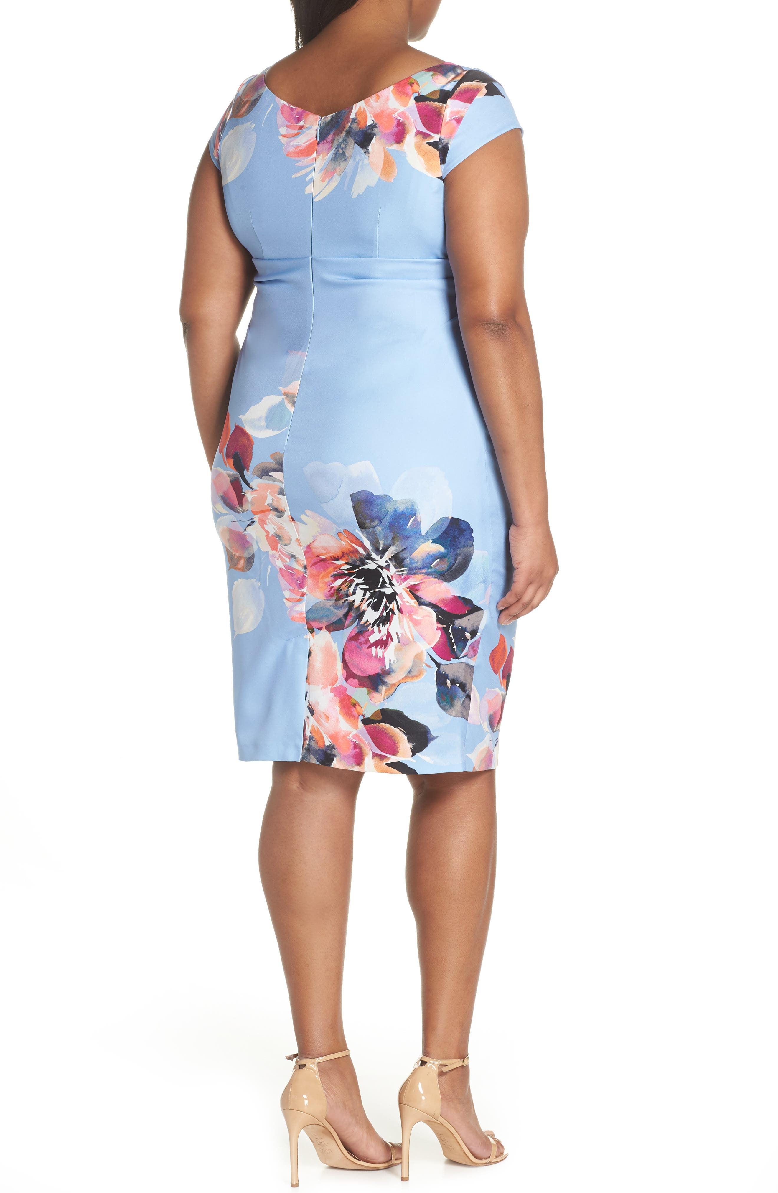 Magnolia Drape Front Sheath Dress,                             Alternate thumbnail 2, color,                             Blue Multi