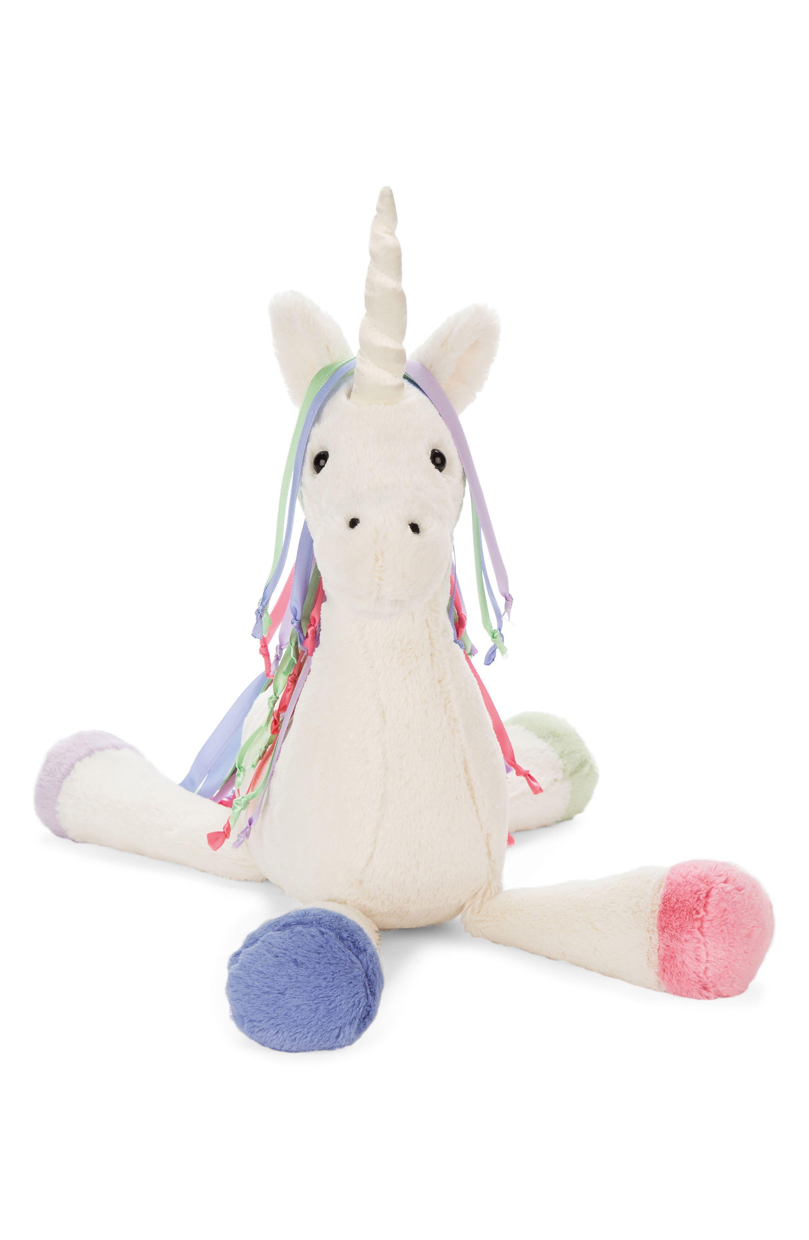 Large Lollopylou Unicorn Stuffed Animal,                         Main,                         color, Cream