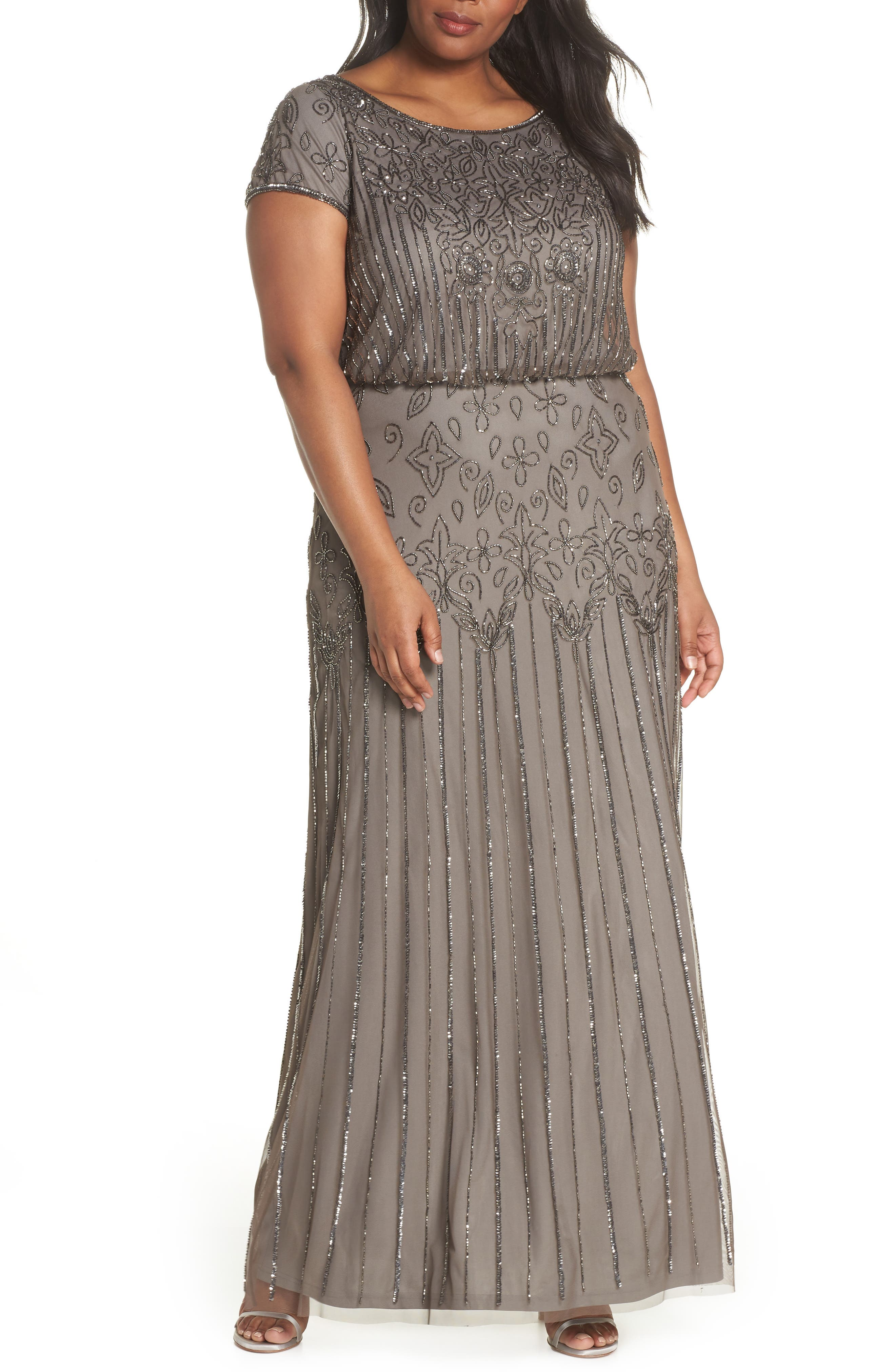 Beaded Blouson Gown,                         Main,                         color, Lead