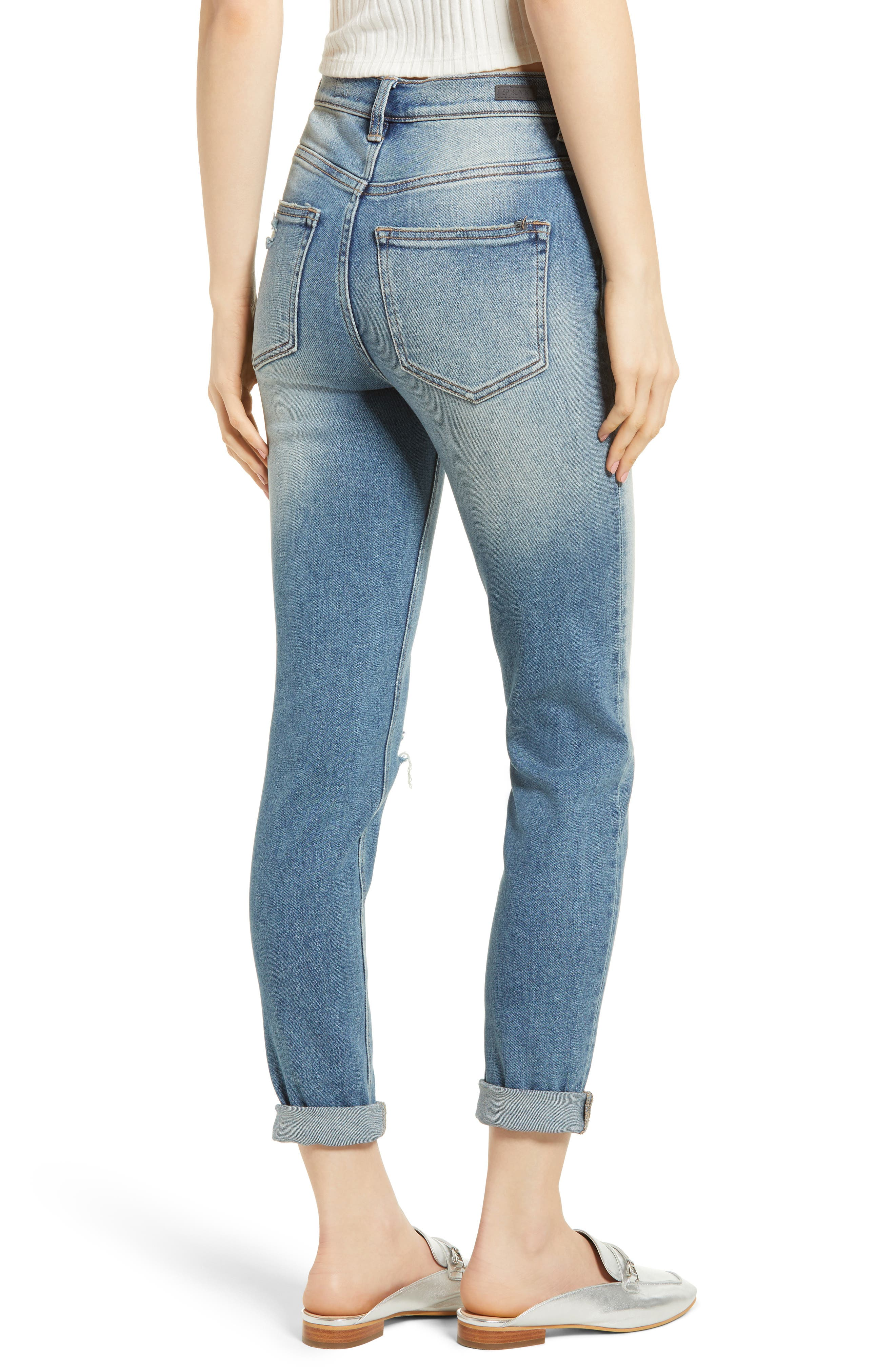 Ripped High Waist Boyfriend Jeans,                             Alternate thumbnail 2, color,                             Med Wash
