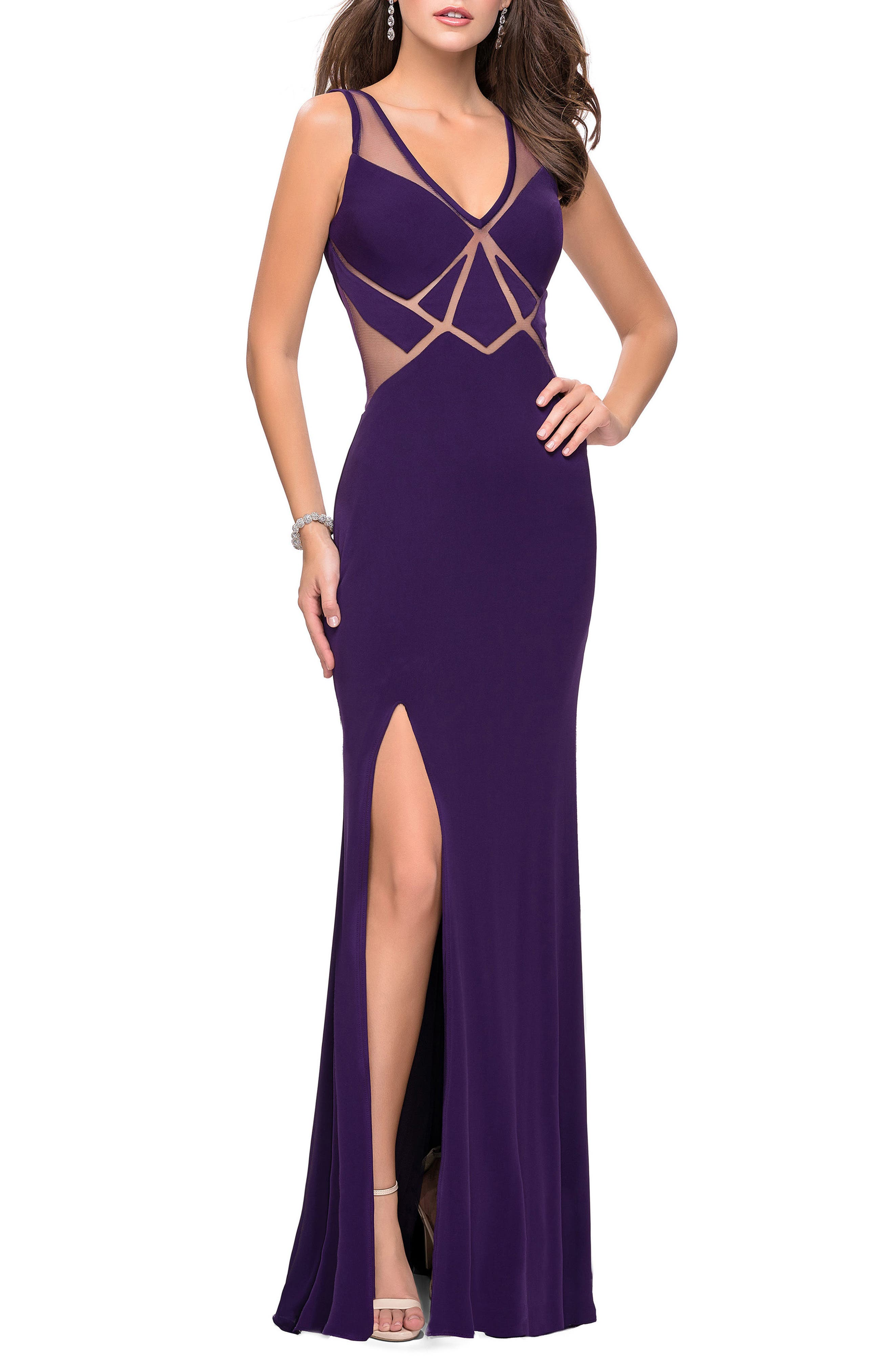 Geometric Cutout Jersey Gown,                             Main thumbnail 1, color,                             Plum