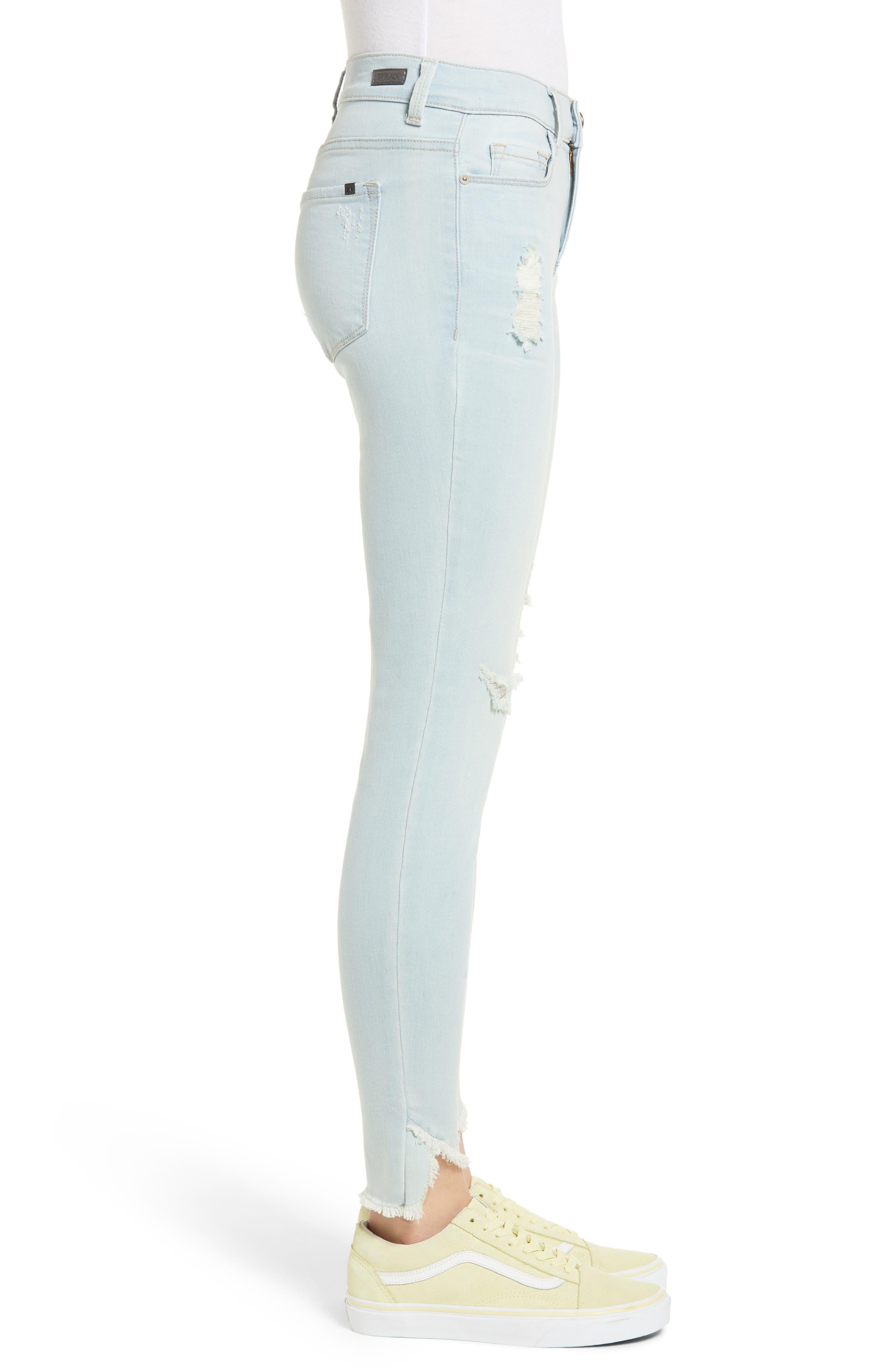 Distressed Asymmetrical Hem Skinny Jeans,                             Alternate thumbnail 3, color,                             Light Wash