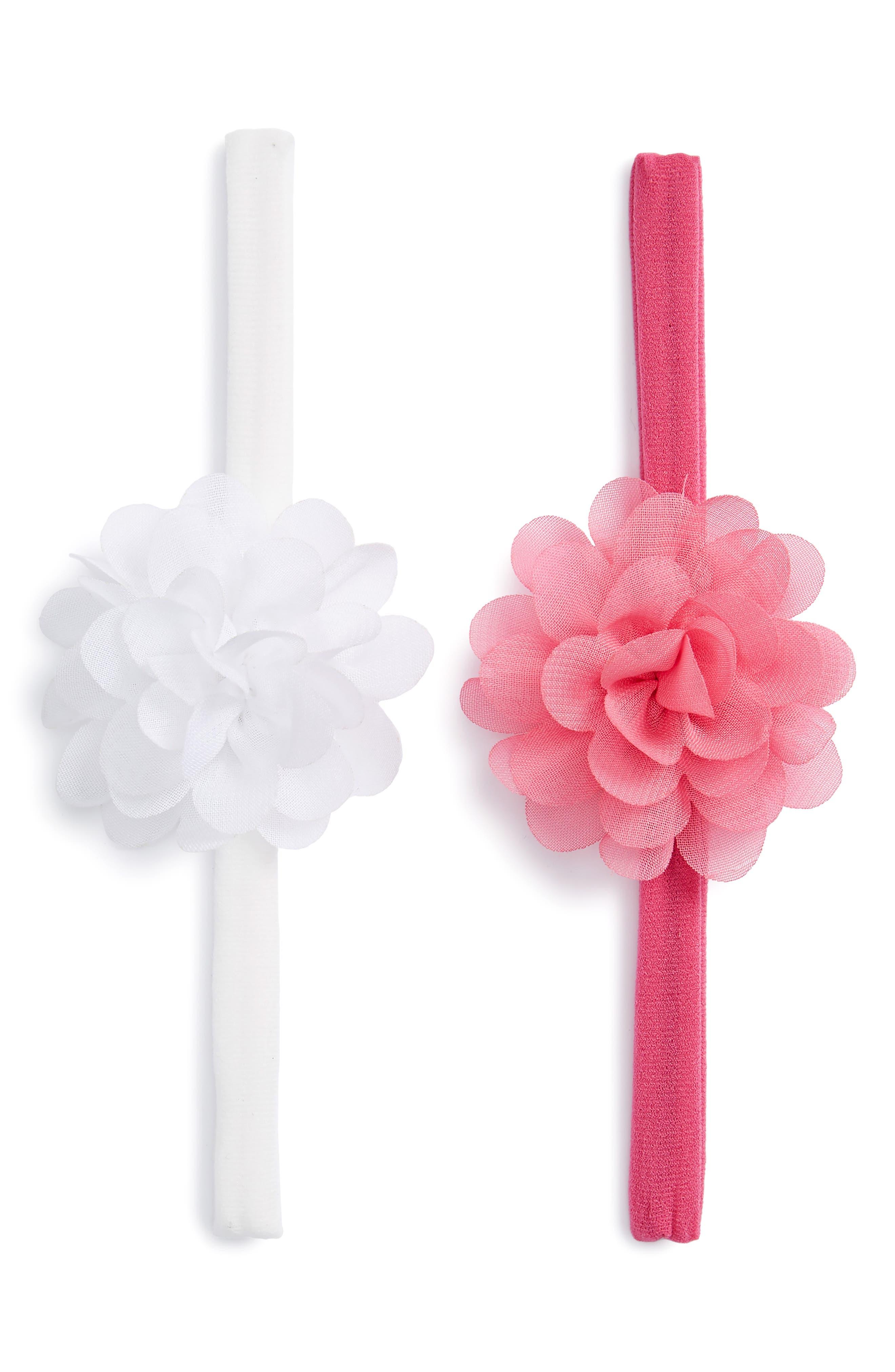 Set of 2 Mini Flower Headbands,                             Main thumbnail 1, color,                             White/ Hot Pink